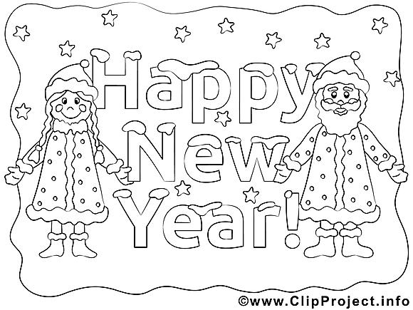 Bon nouvel an dessin à télécharger à colorier
