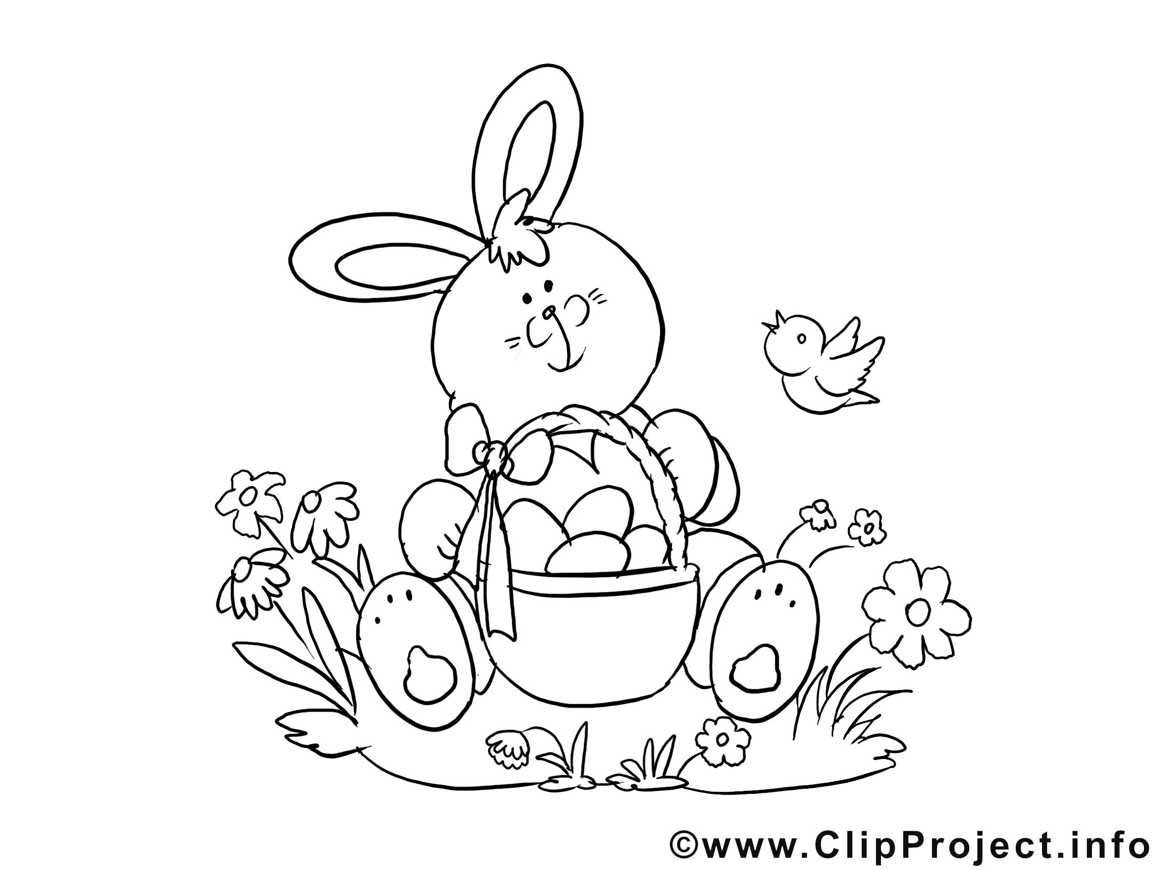 Illustration lapin à télécharger – Pâques à colorier