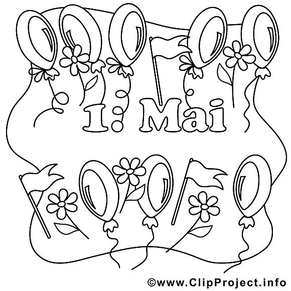 Ballons clip arts – Premier mai à imprimer