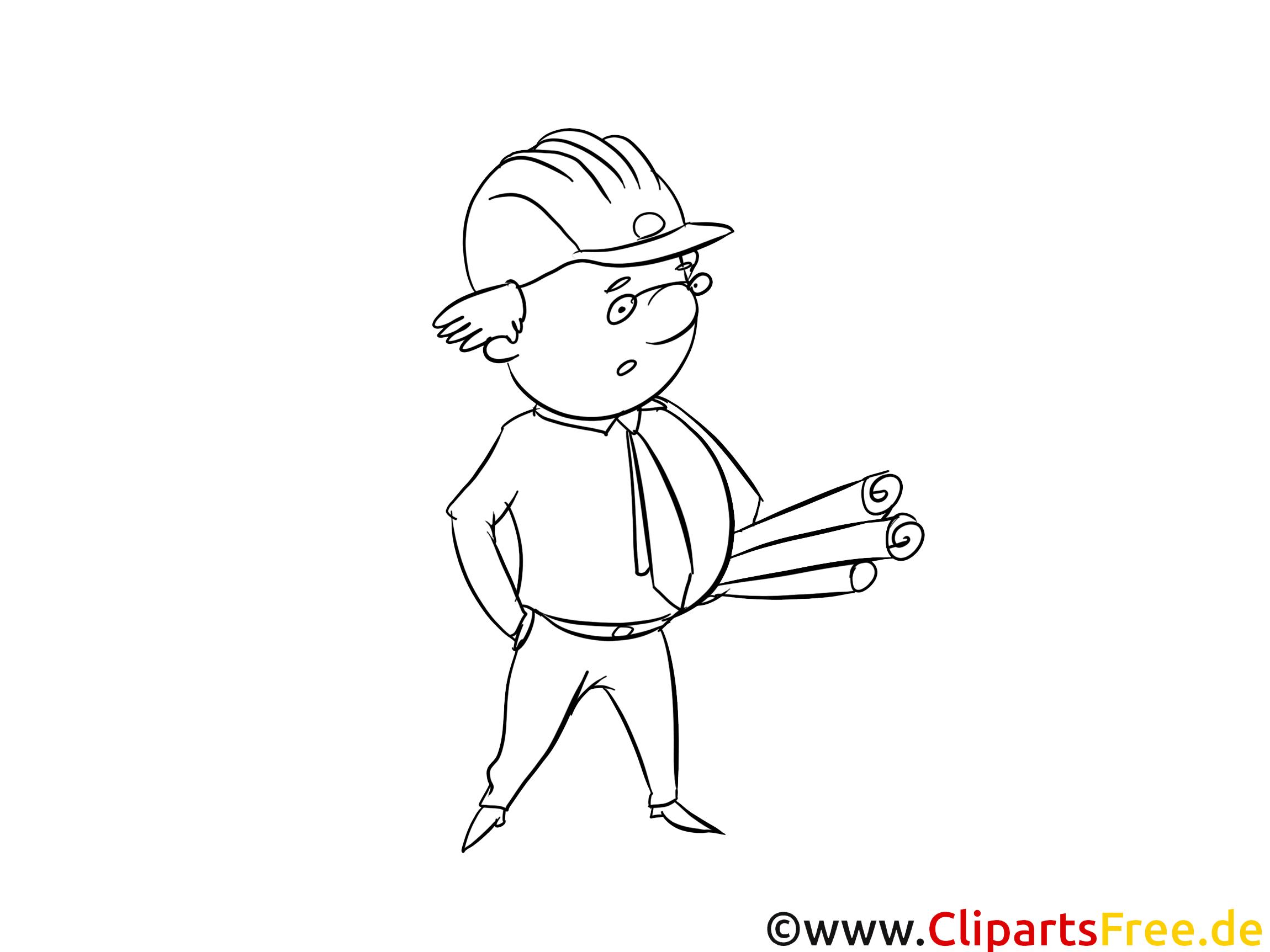 Coloriage chef de chantier métiers image à télécharger