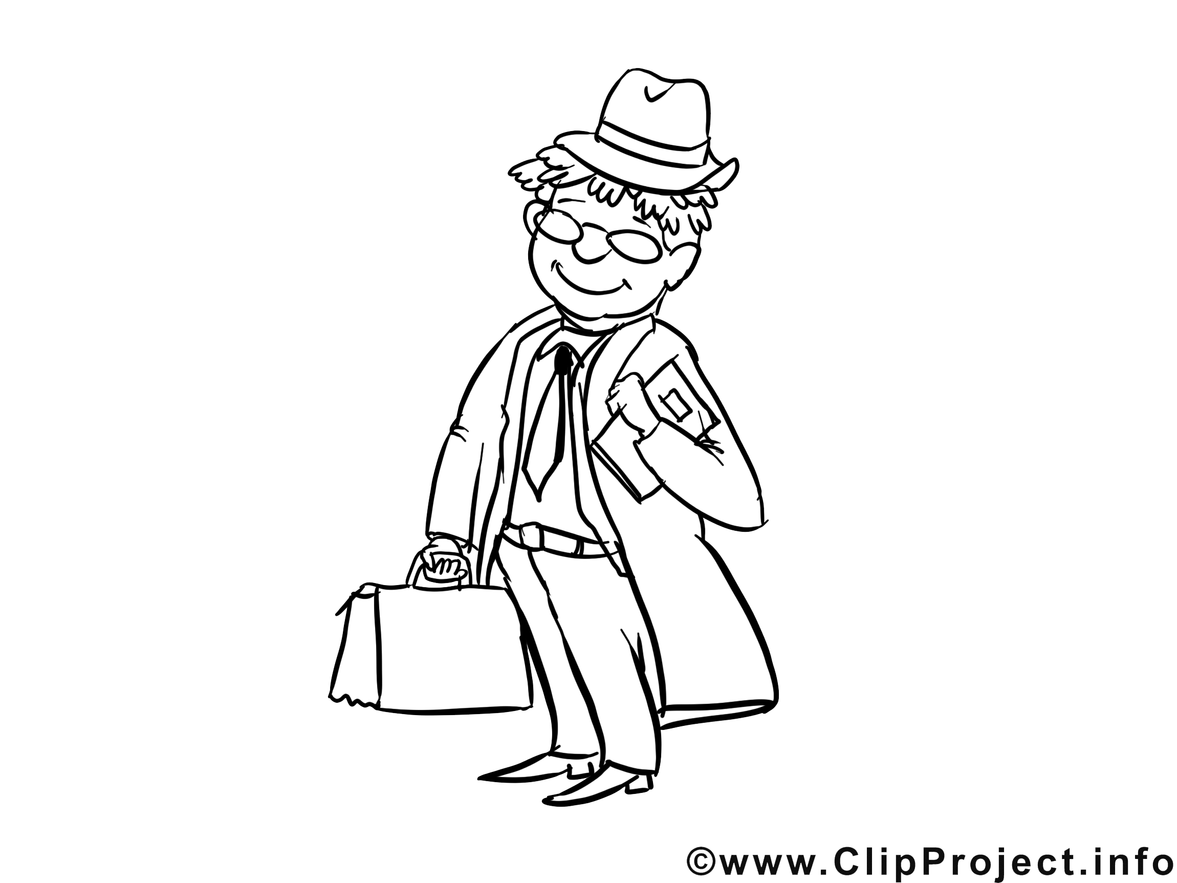 Commis voyageur dessin – Métiers gratuits à imprimer