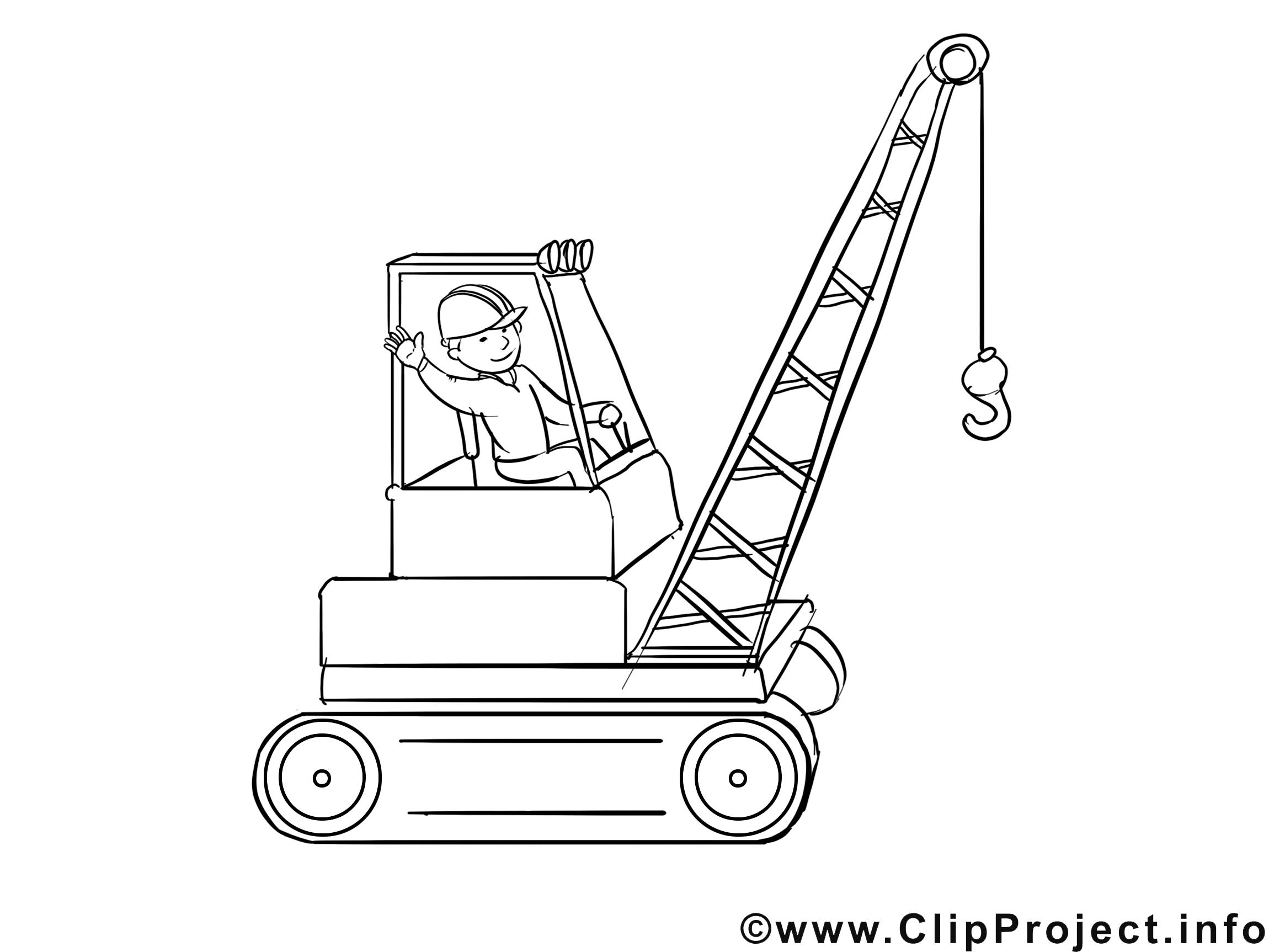 Grutier clipart – Métiers dessins à colorier