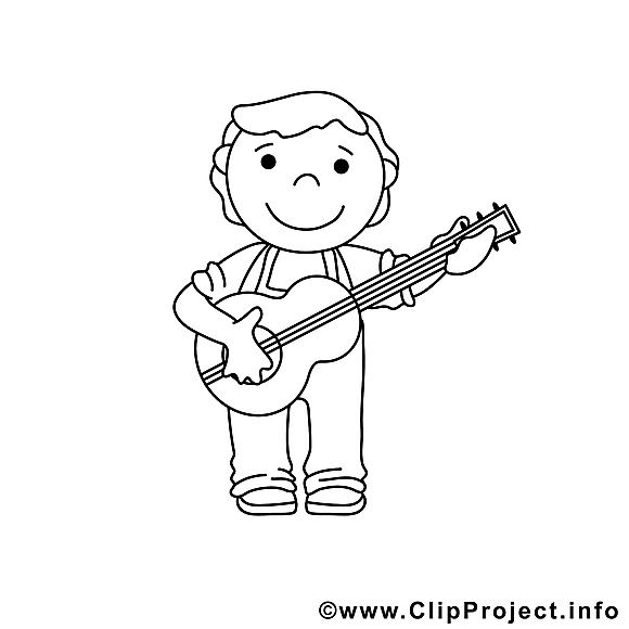 Guitariste illustration – Coloriage métiers cliparts