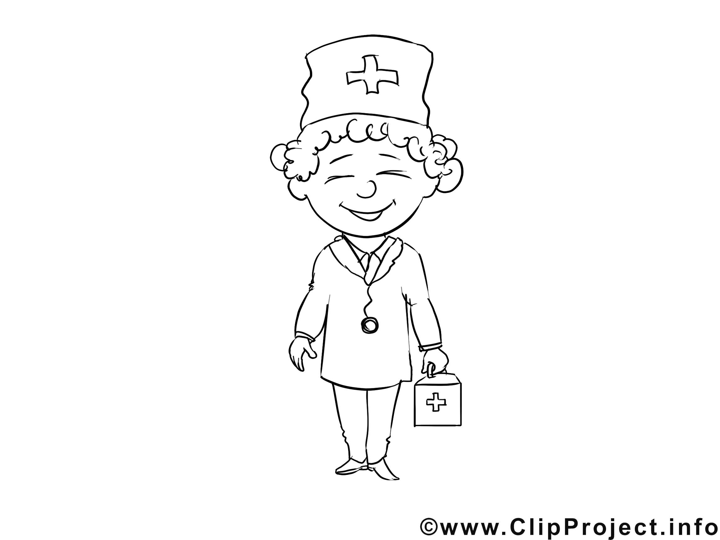 Infirmière illustration – Métiers à colorier