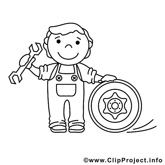 Mécanicien illustration – Métiers à colorier