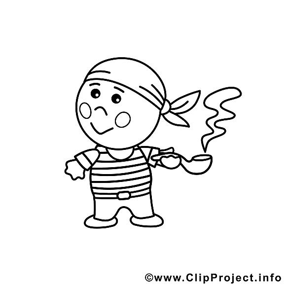 Pirate image – Coloriage métiers illustration