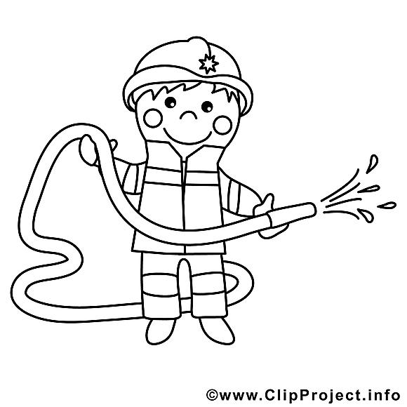 Pompier dessin gratuit – Métiers à colorier