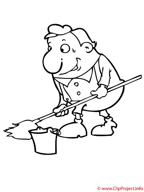 Technicien de surface coloriage