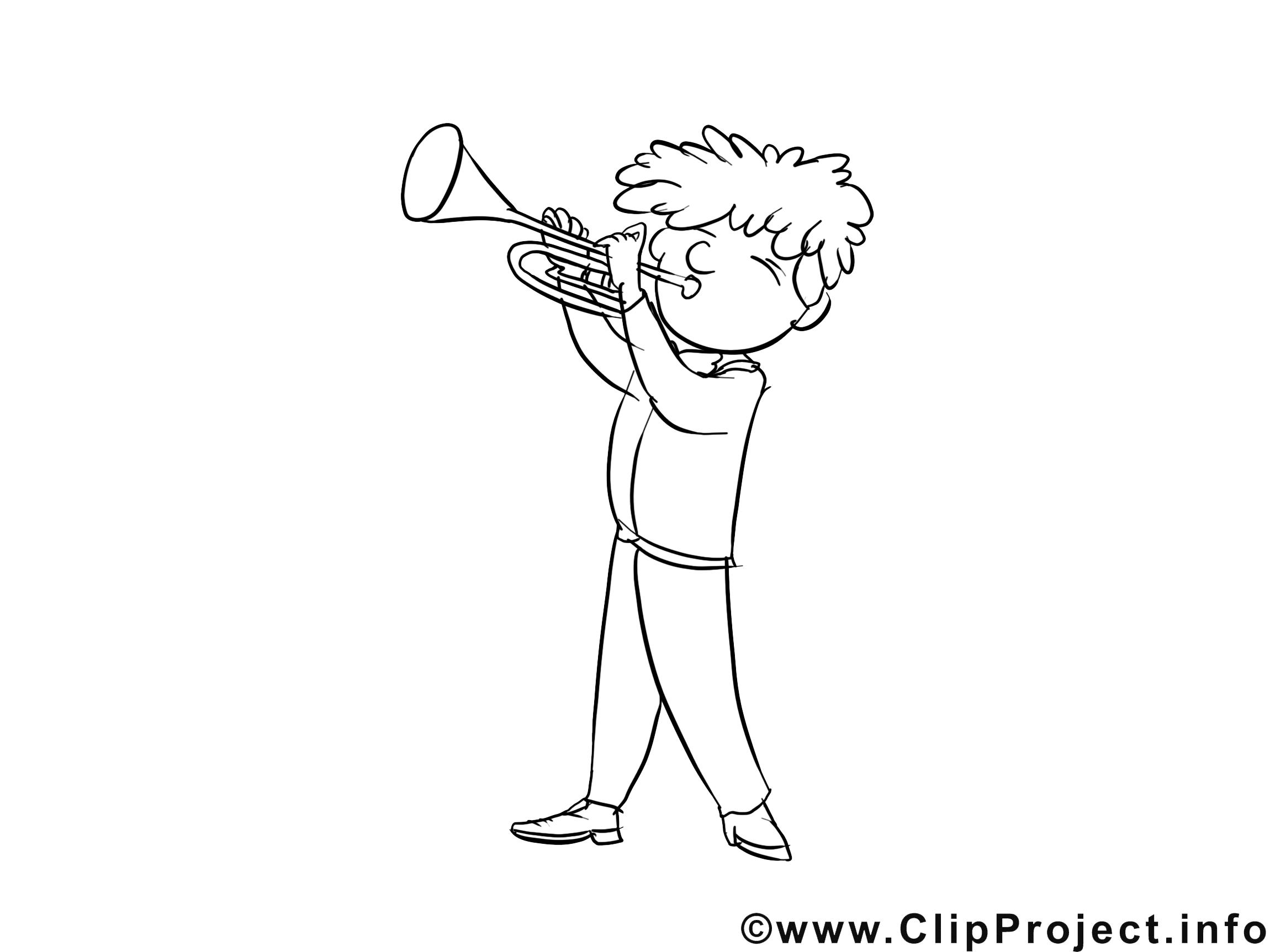 Trompettiste dessin à télécharger – Métiers à colorier