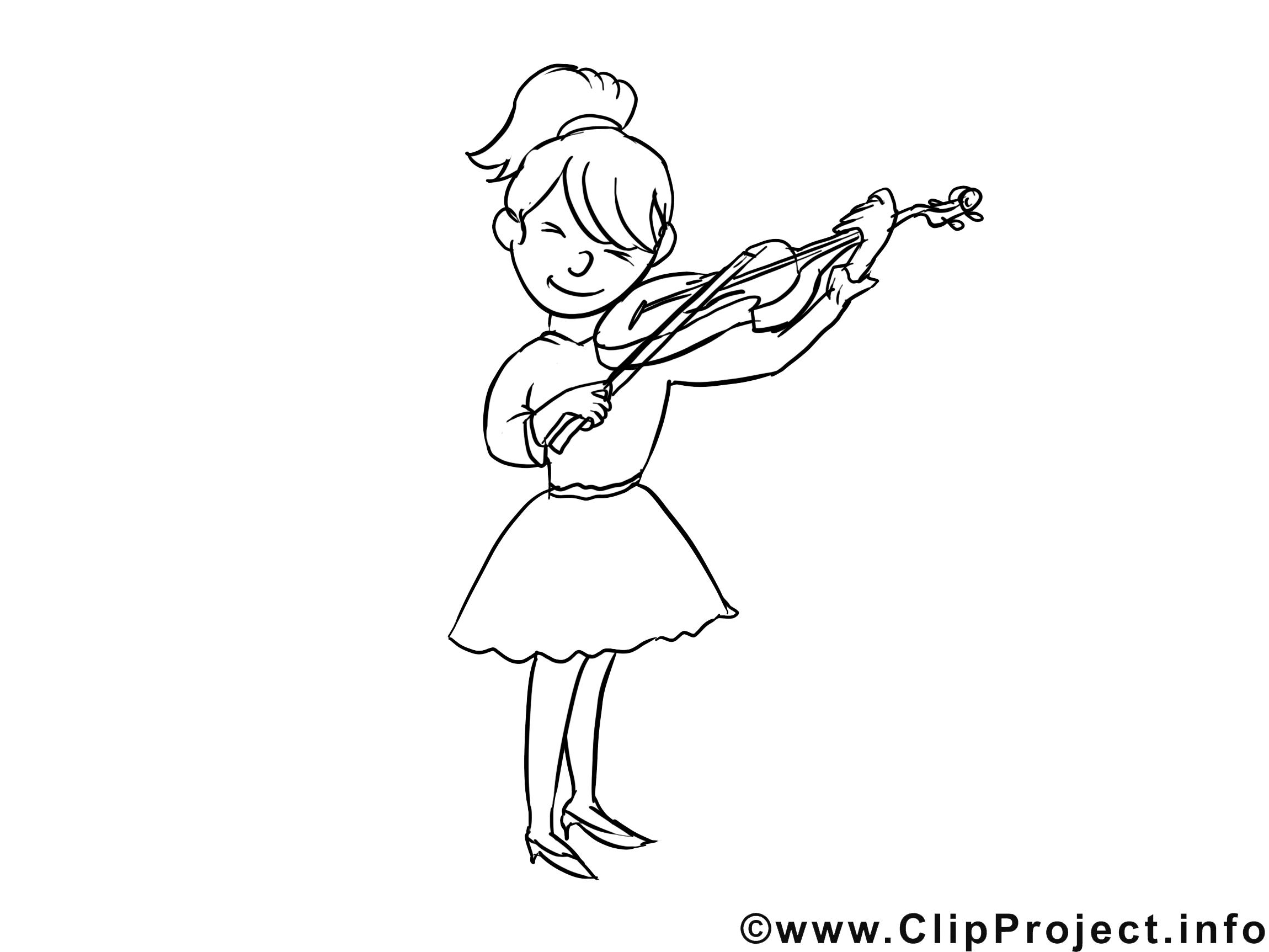 Violoniste clip art gratuit – Métiers à colorier