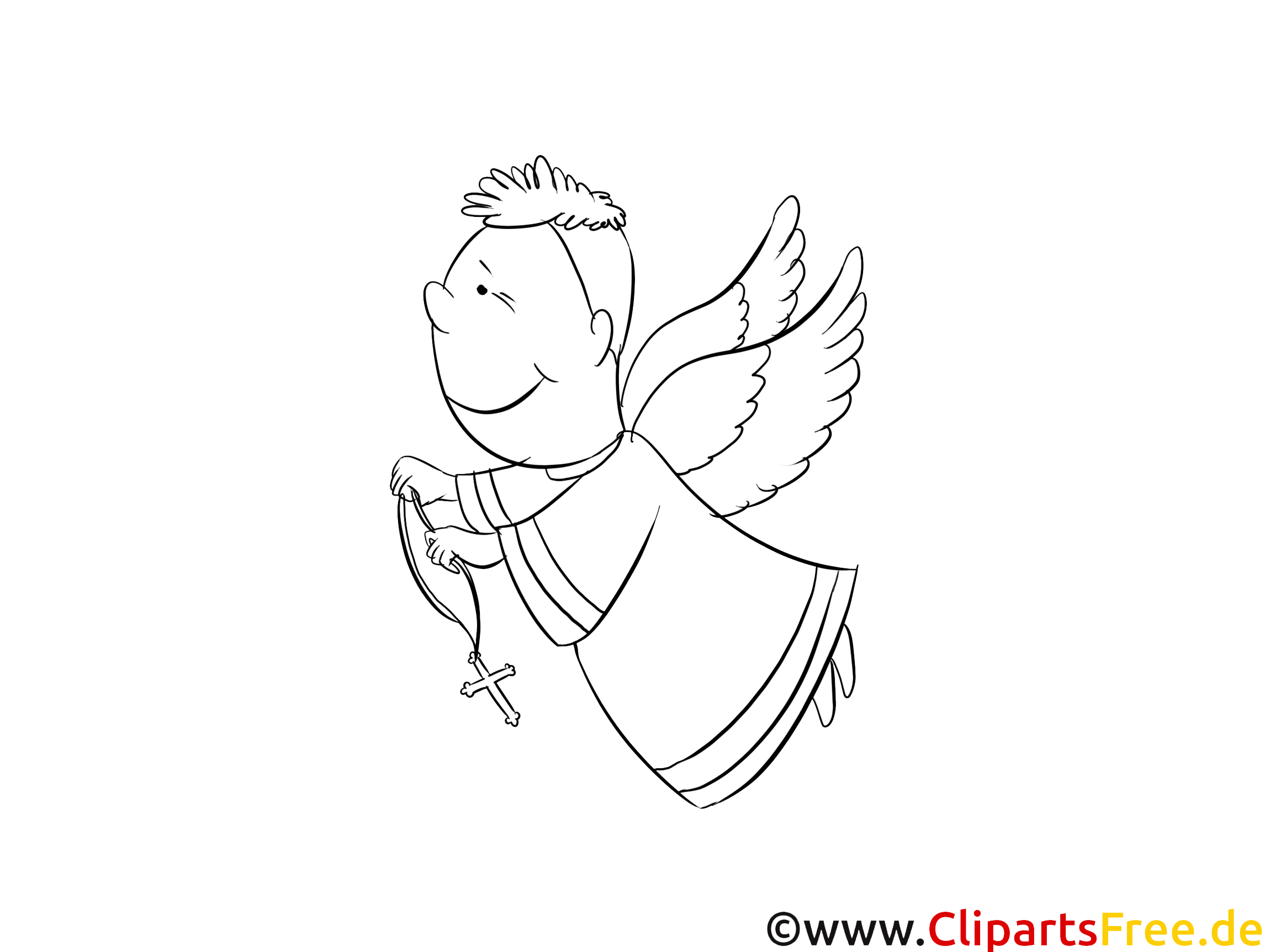 Ange dessin – Coloriage baptême à télécharger