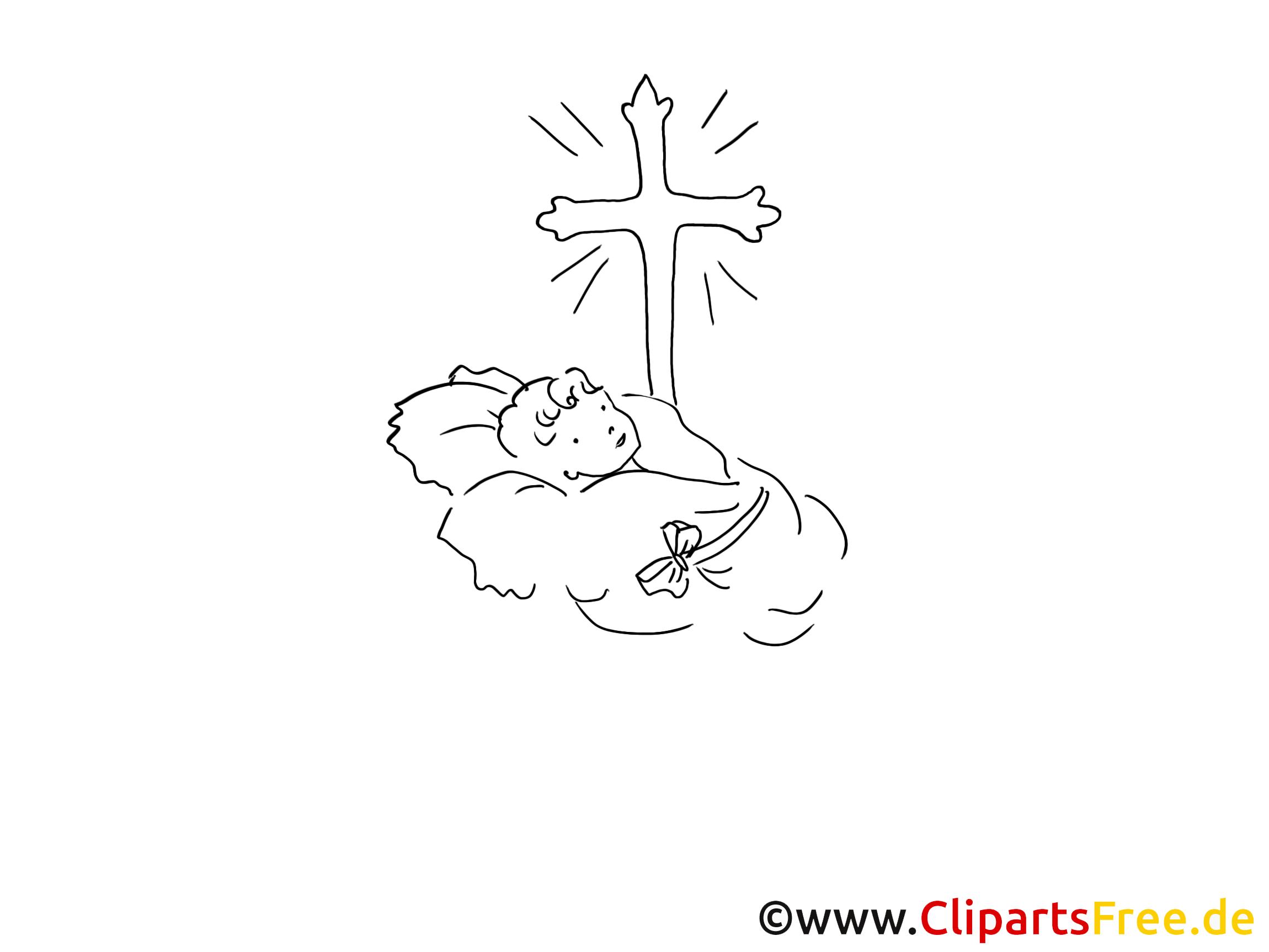 Bébé clipart gratuit – Baptême à colorier