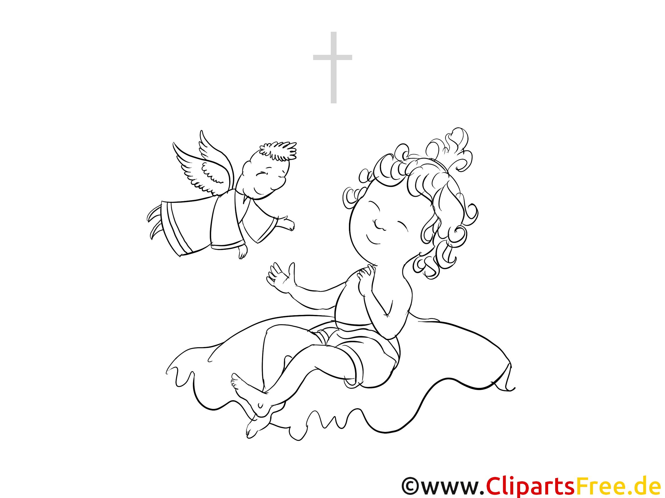 Bébé dessin gratuit – Baptême à colorier