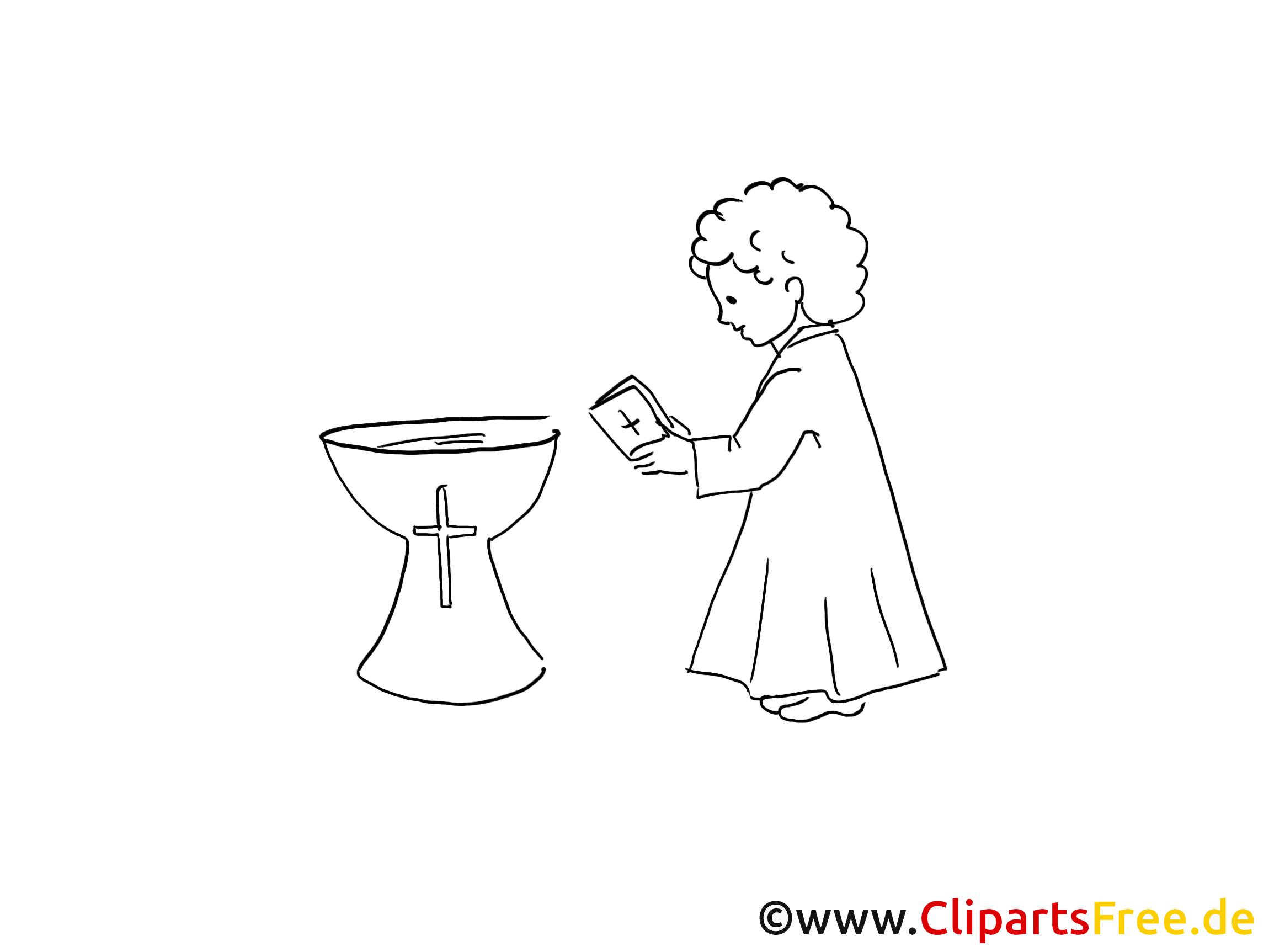 Clip art gratuit prêtre – Baptême à imprimer