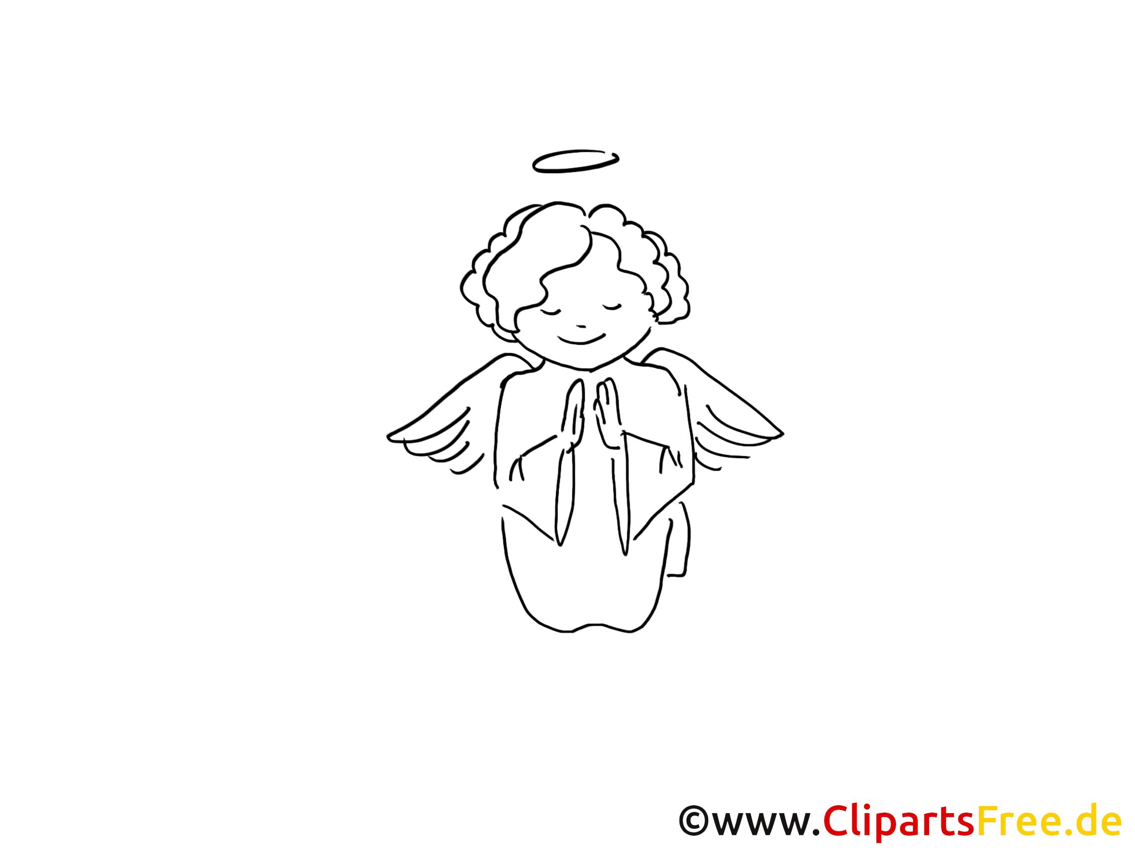 Clipart ange – Baptême dessins à colorier
