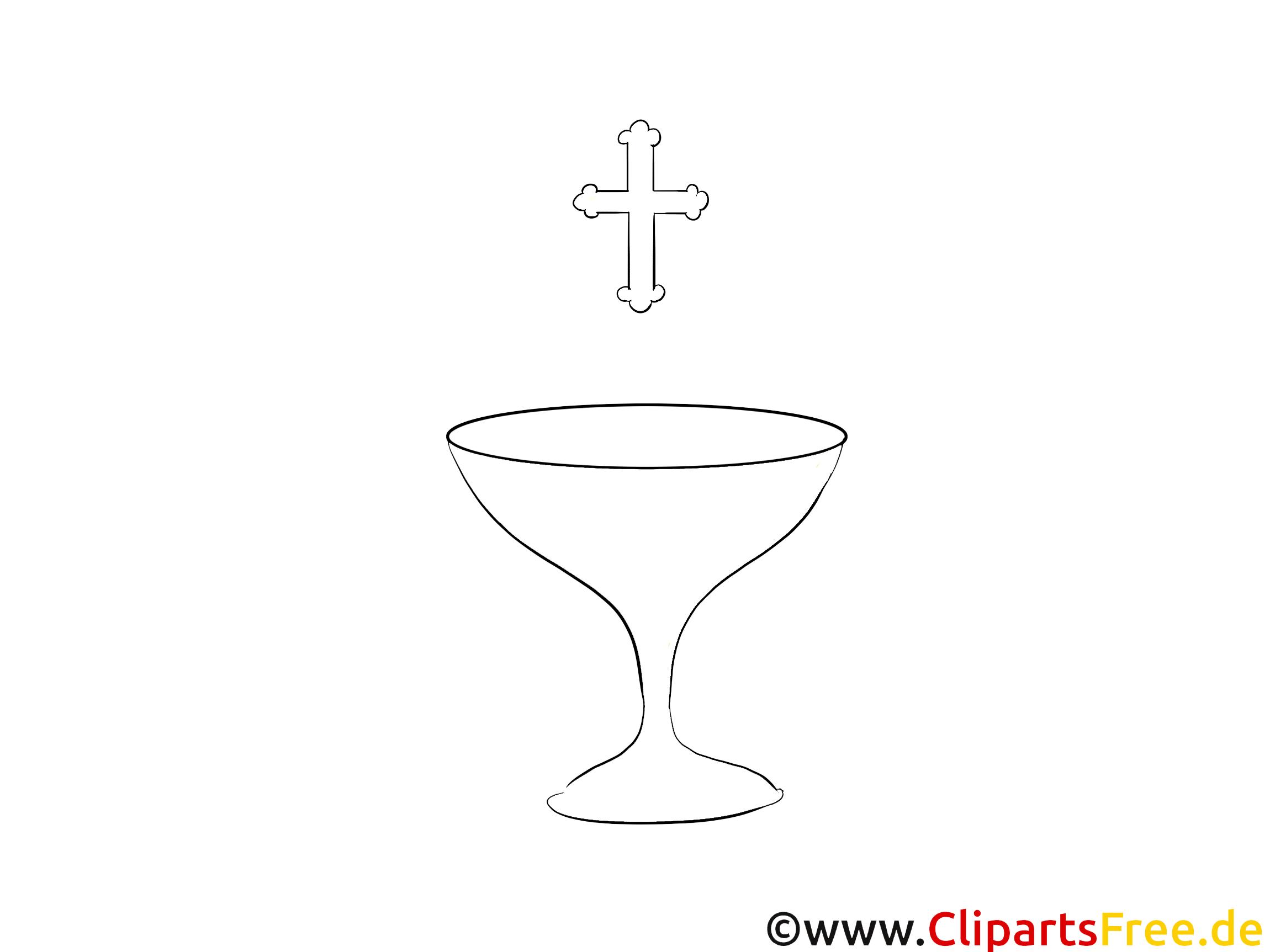 Coupe dessin gratuit – Baptême à colorier