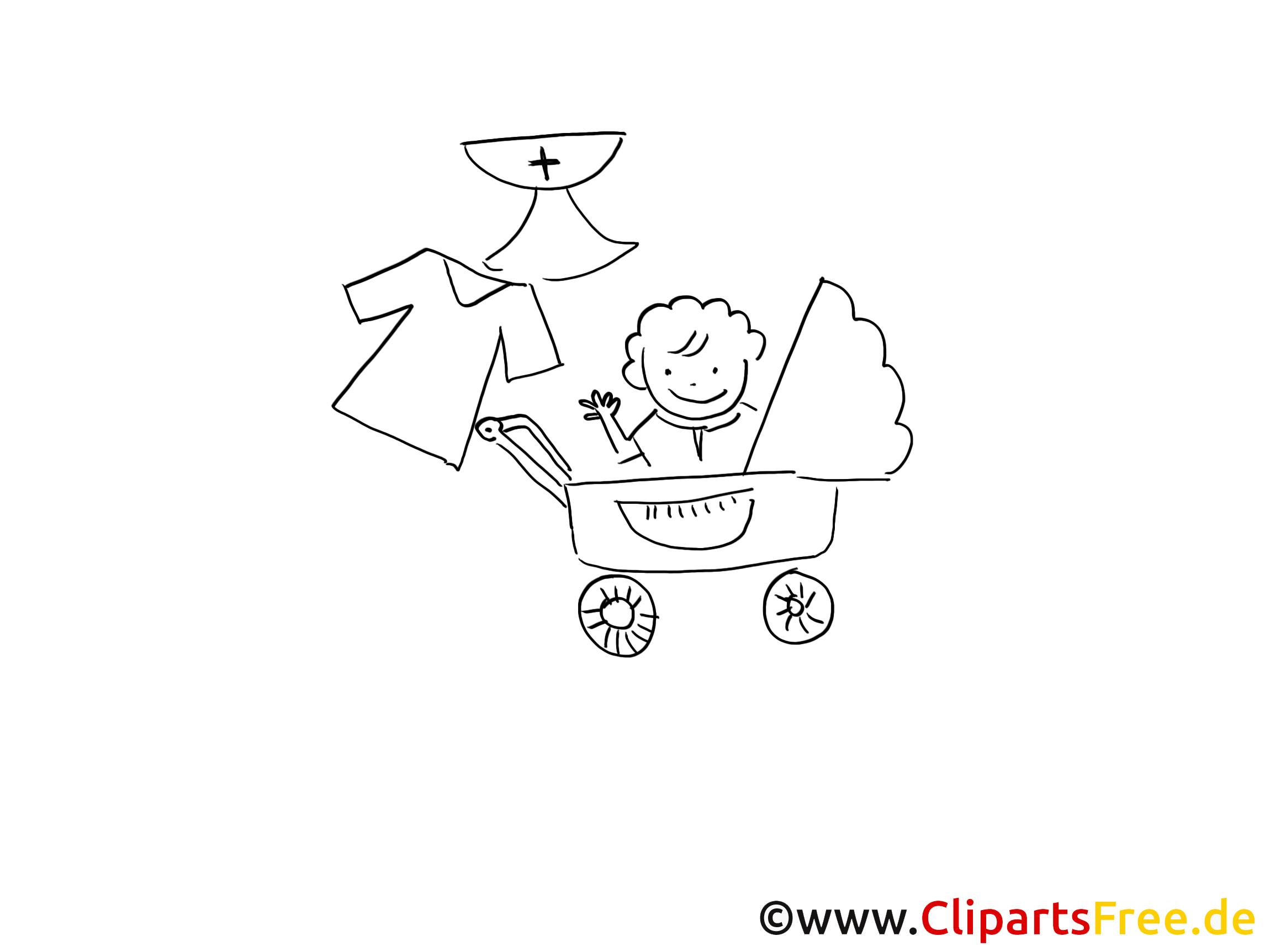 Poussette image gratuite – Baptême à colorier