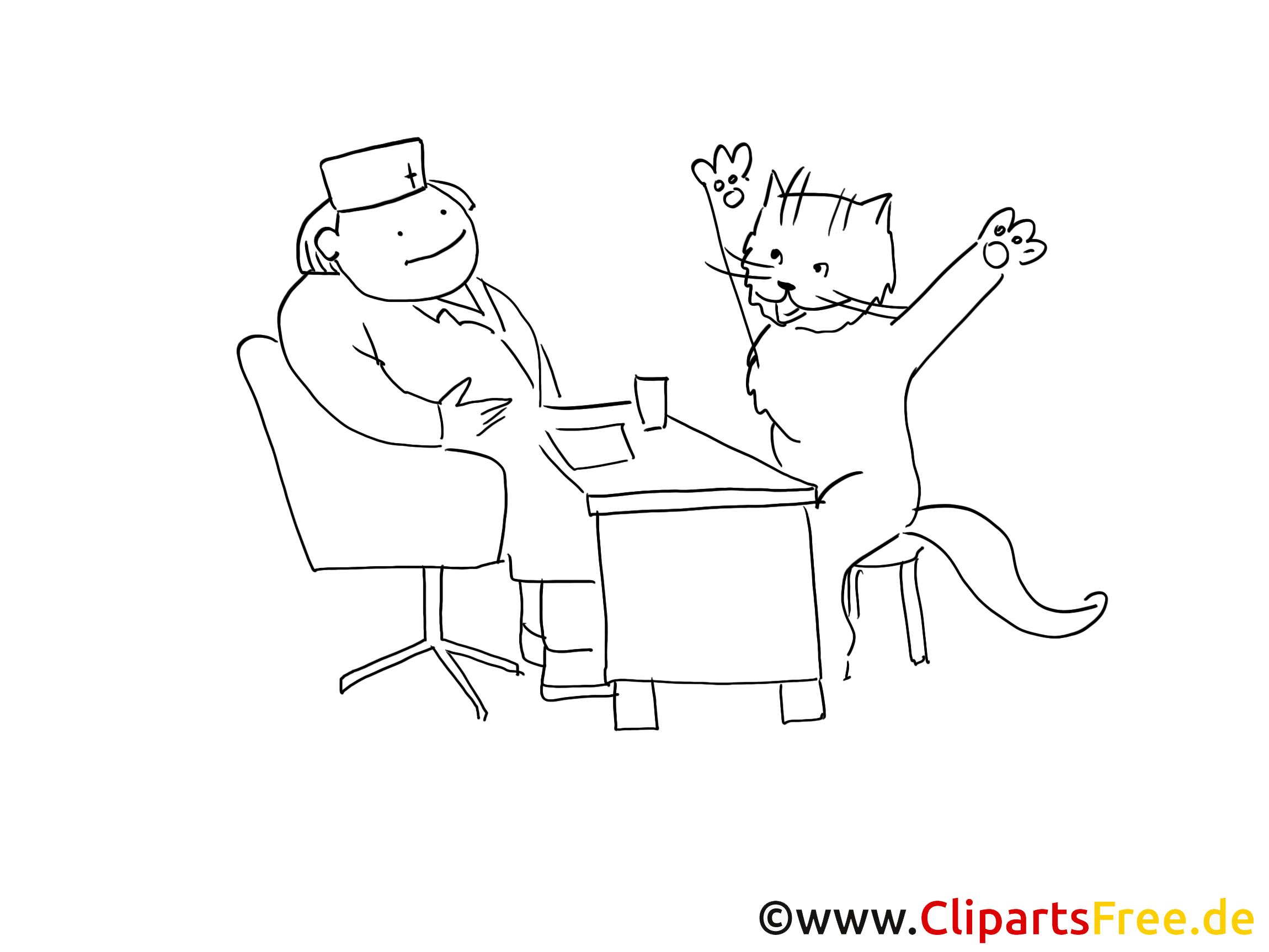 Chat clipart gratuit – Santé à colorier