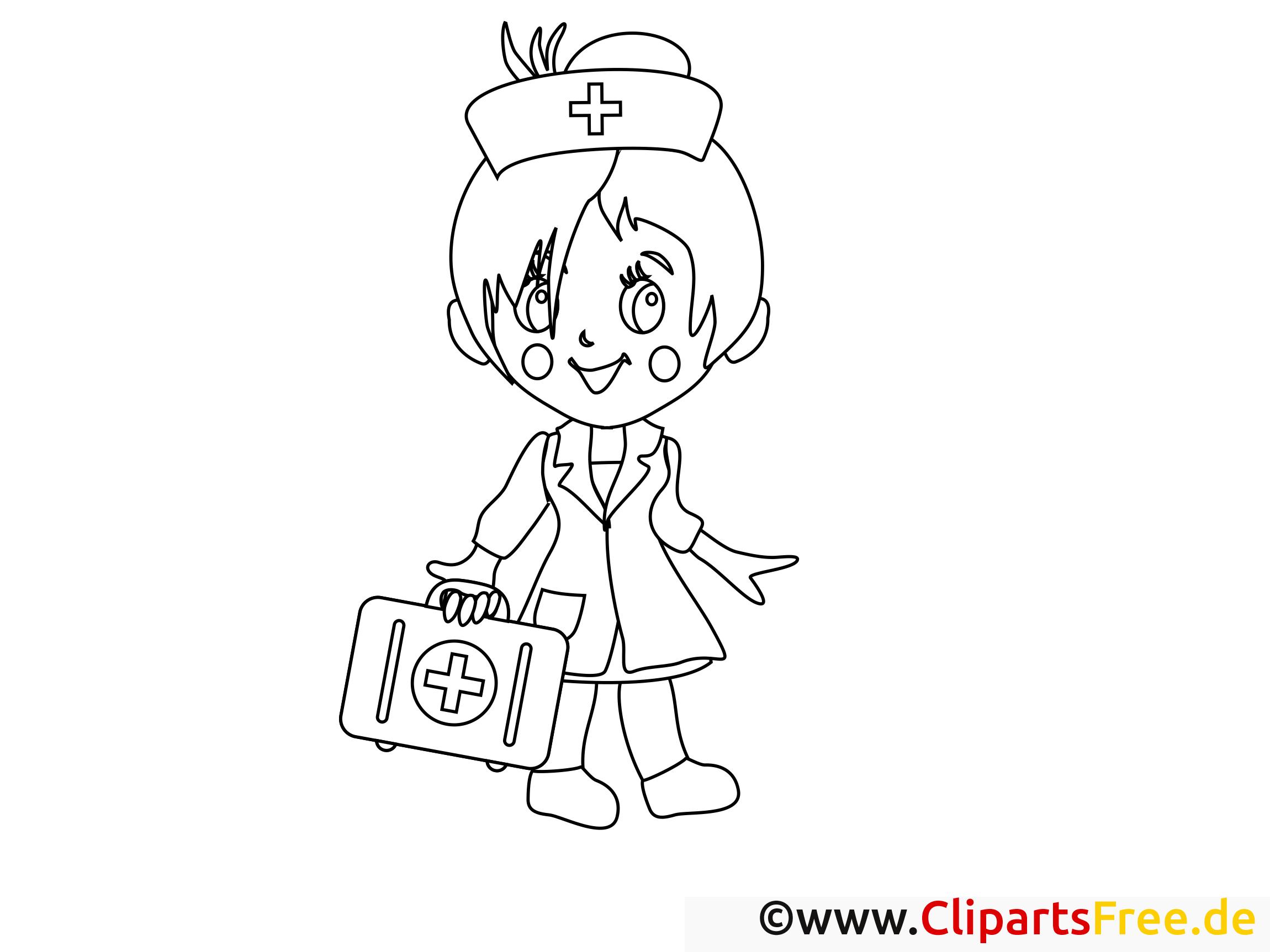 Clip art infirmière – Santé image à colorier