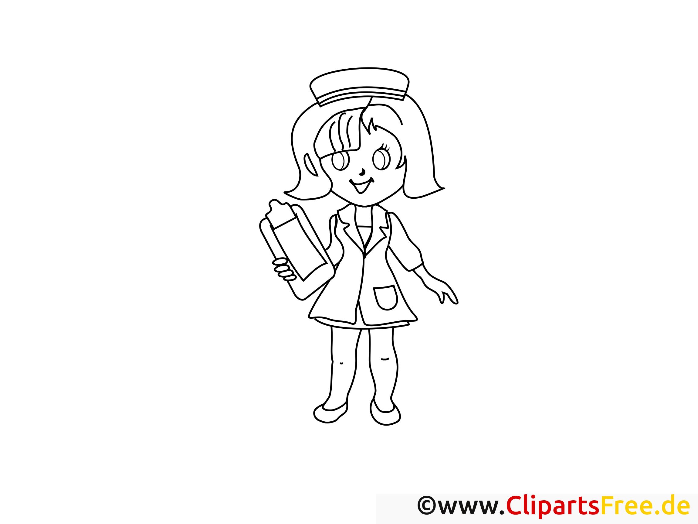 Coloriage infirmière santé illustration à télécharger