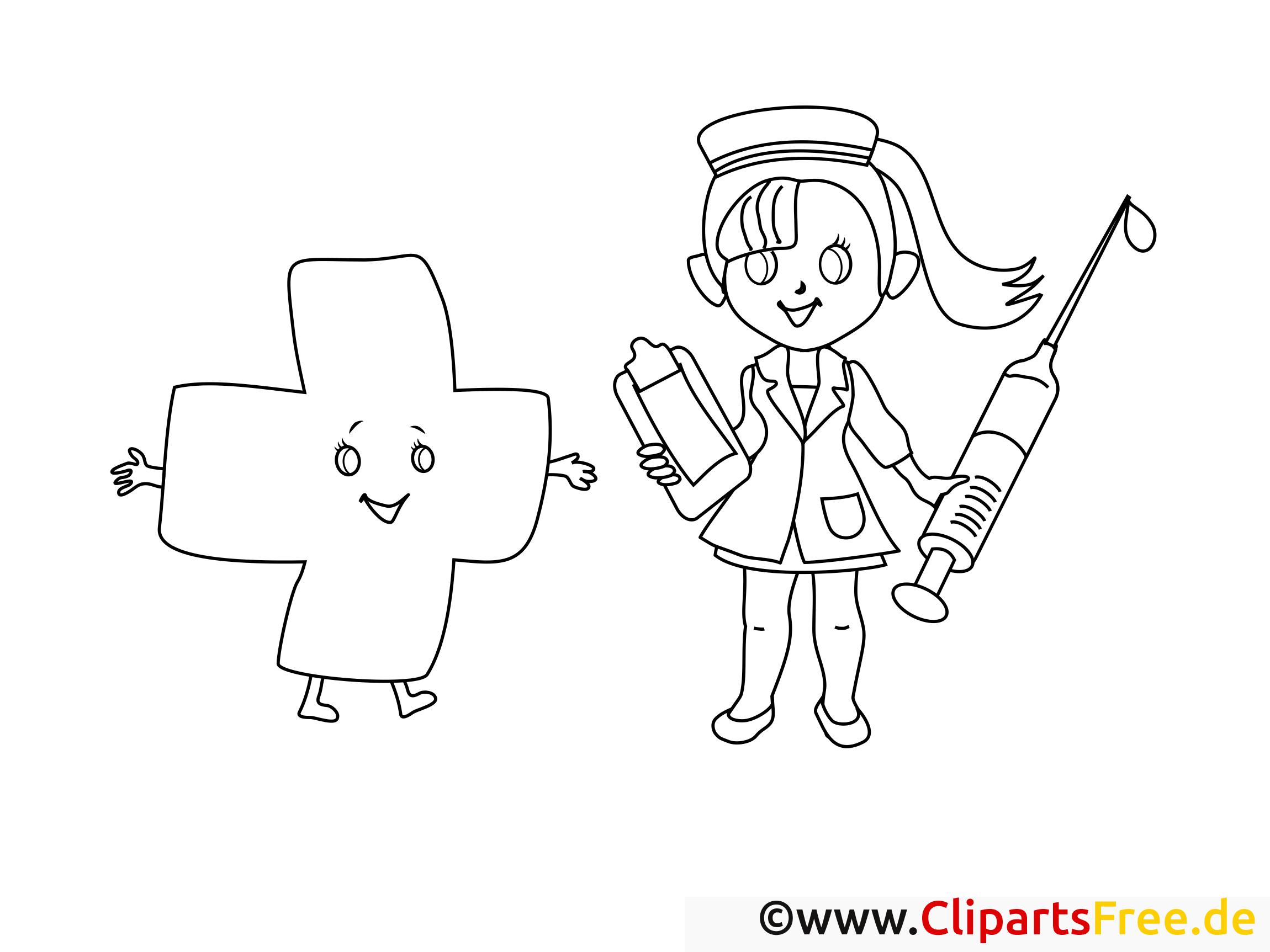 Coloriage santé illustration à télécharger