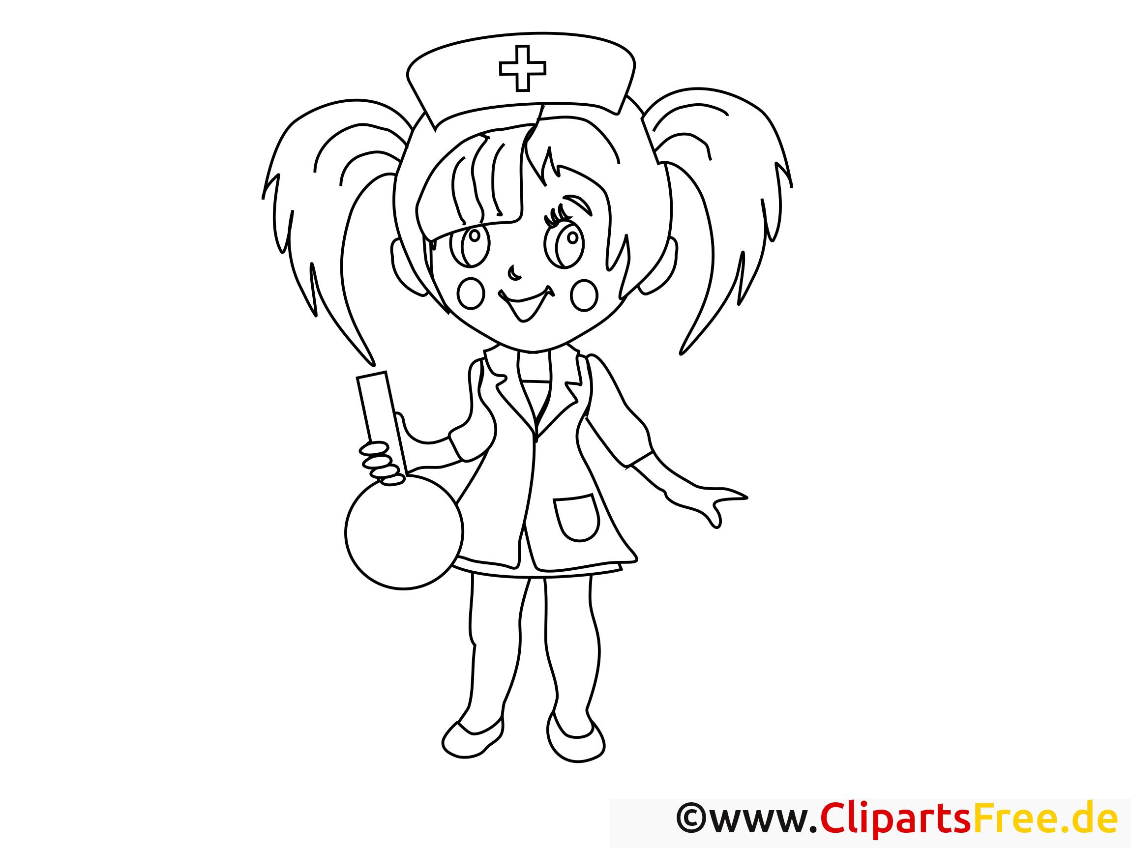 Infirmière image – Coloriage santé illustration