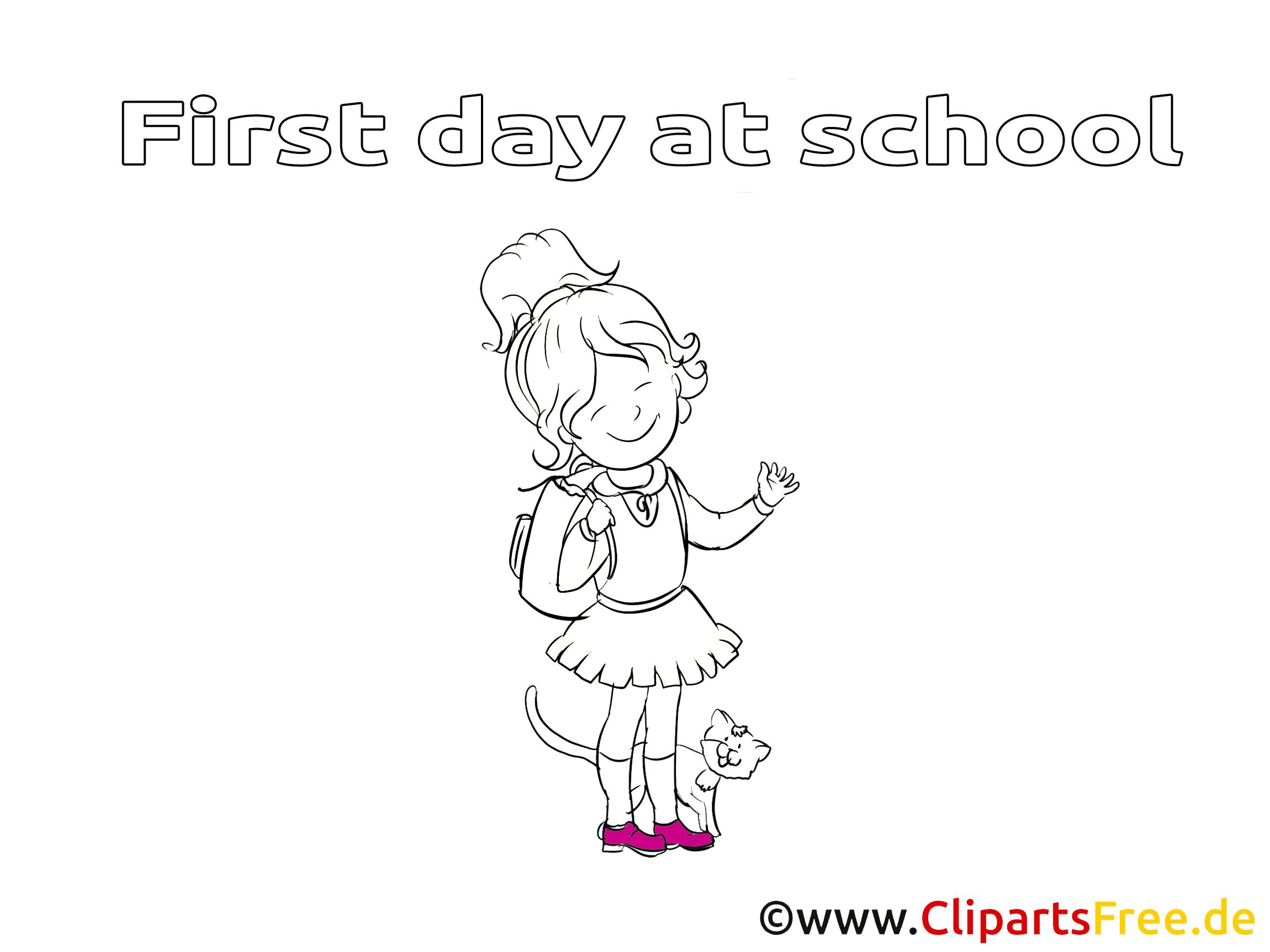 Chat clip art – Élémentaire image à colorier