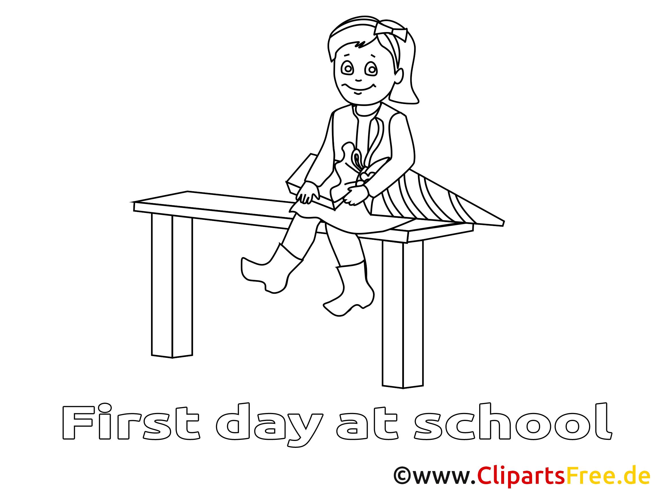 Clip art gratuit fille – Élémentaire à colorier