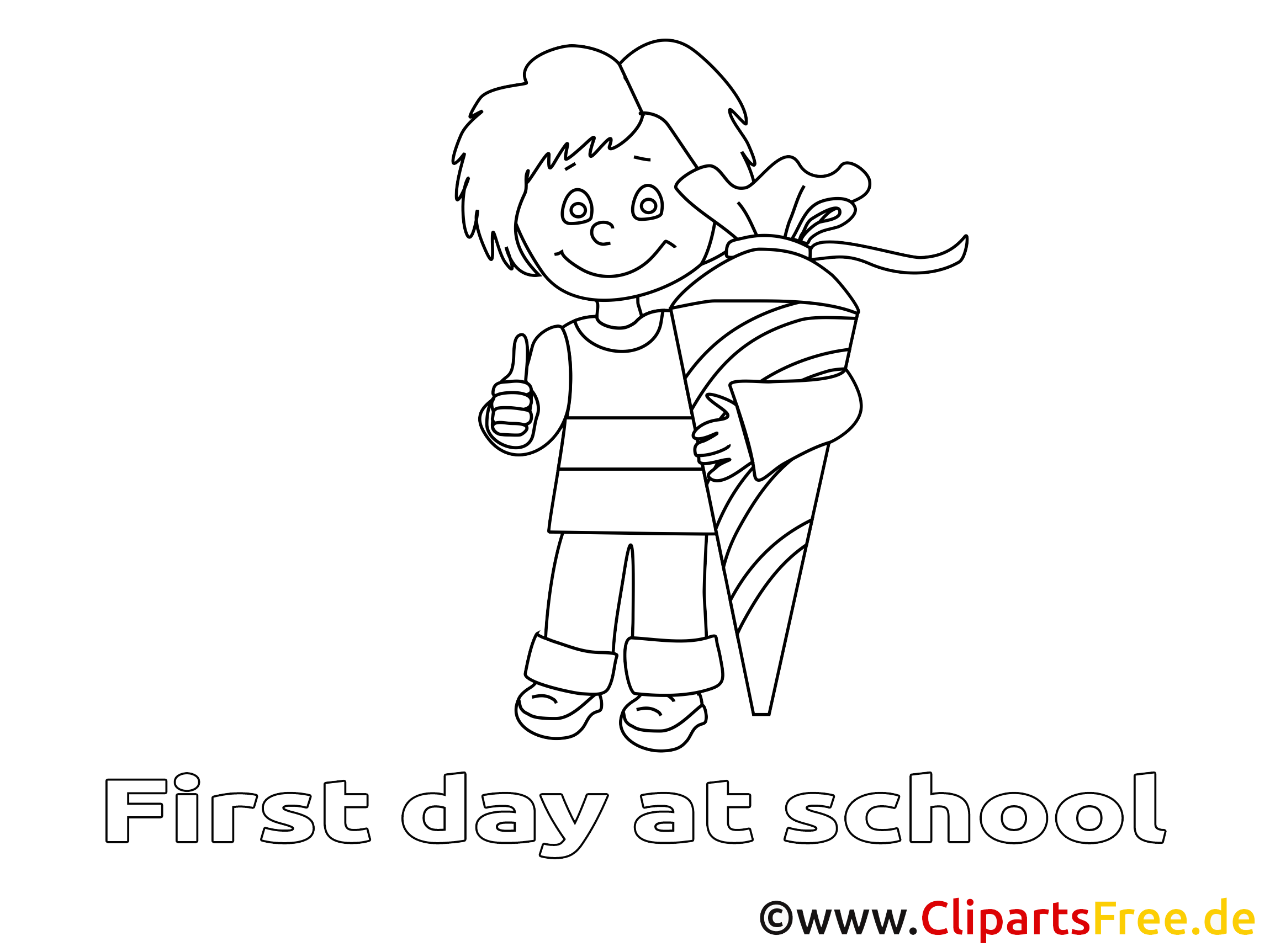 Clip art gratuit garçon – Élémentaire à colorier