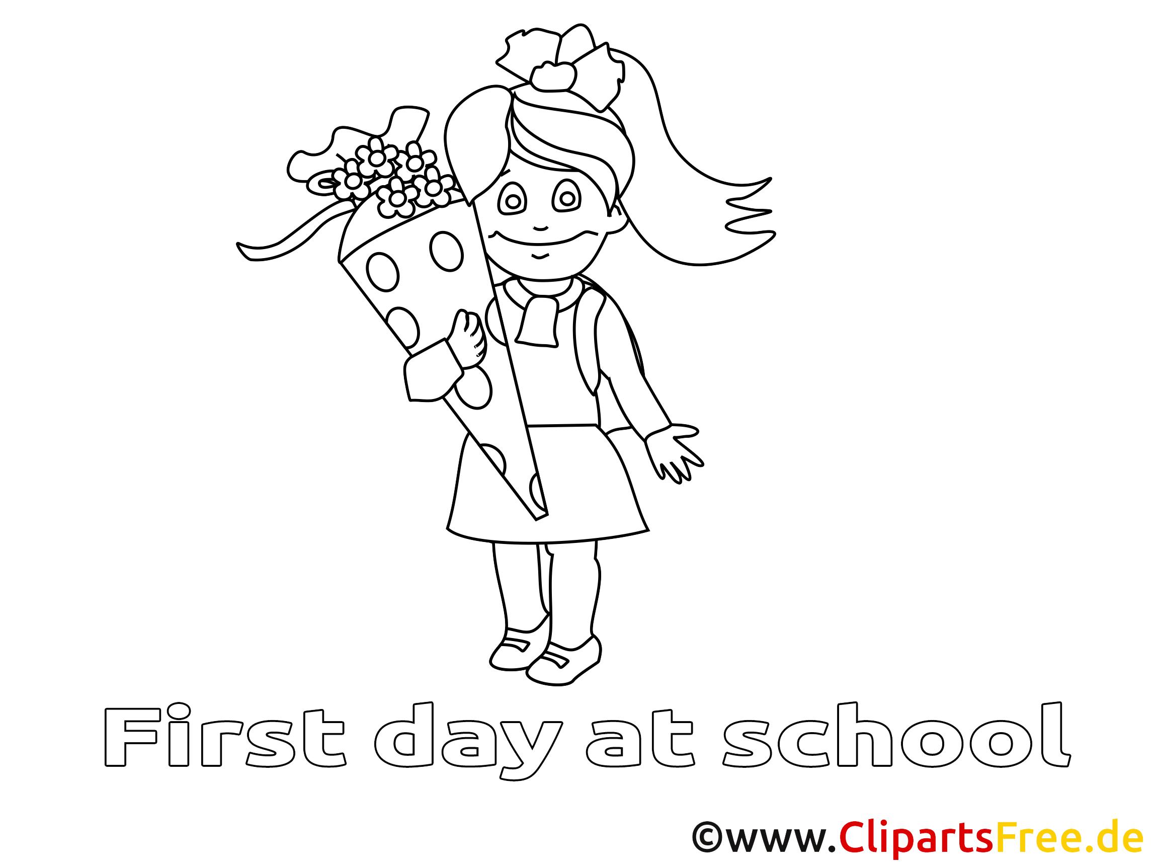 Coloriage fille élémentaire illustration à télécharger