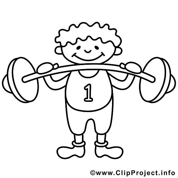 Bodybuilder clip art – Sport image à colorier