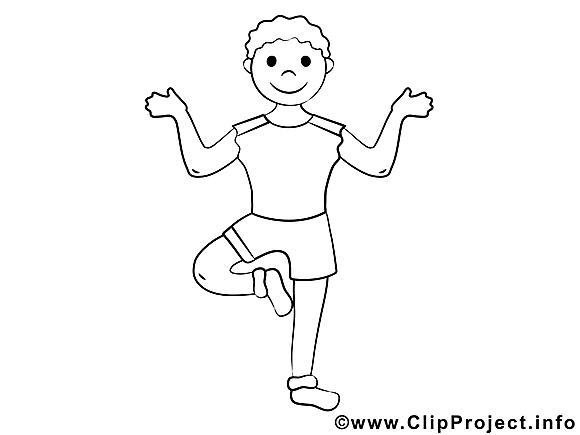 Image yoga – Coloriage sport illustration