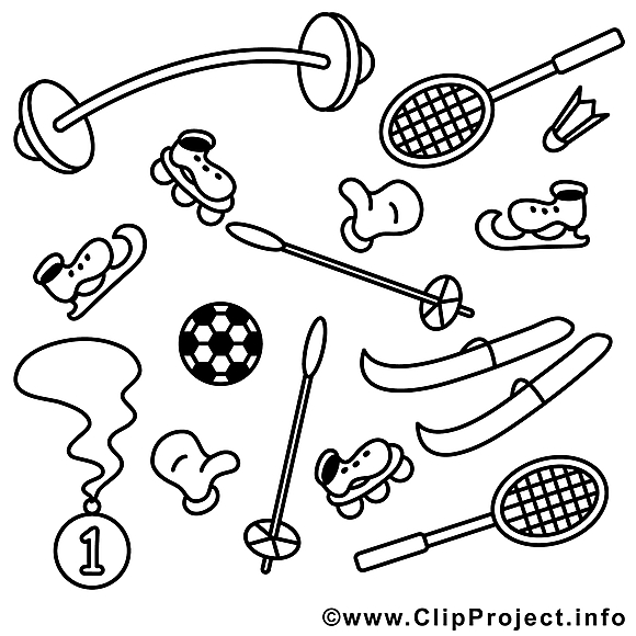 Matériel dessin à télécharger – Sport à colorier