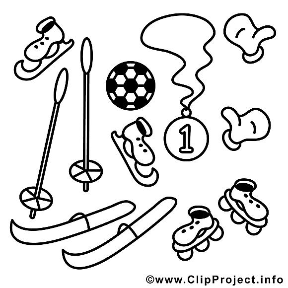 Matériel image gratuite – Sport à colorier