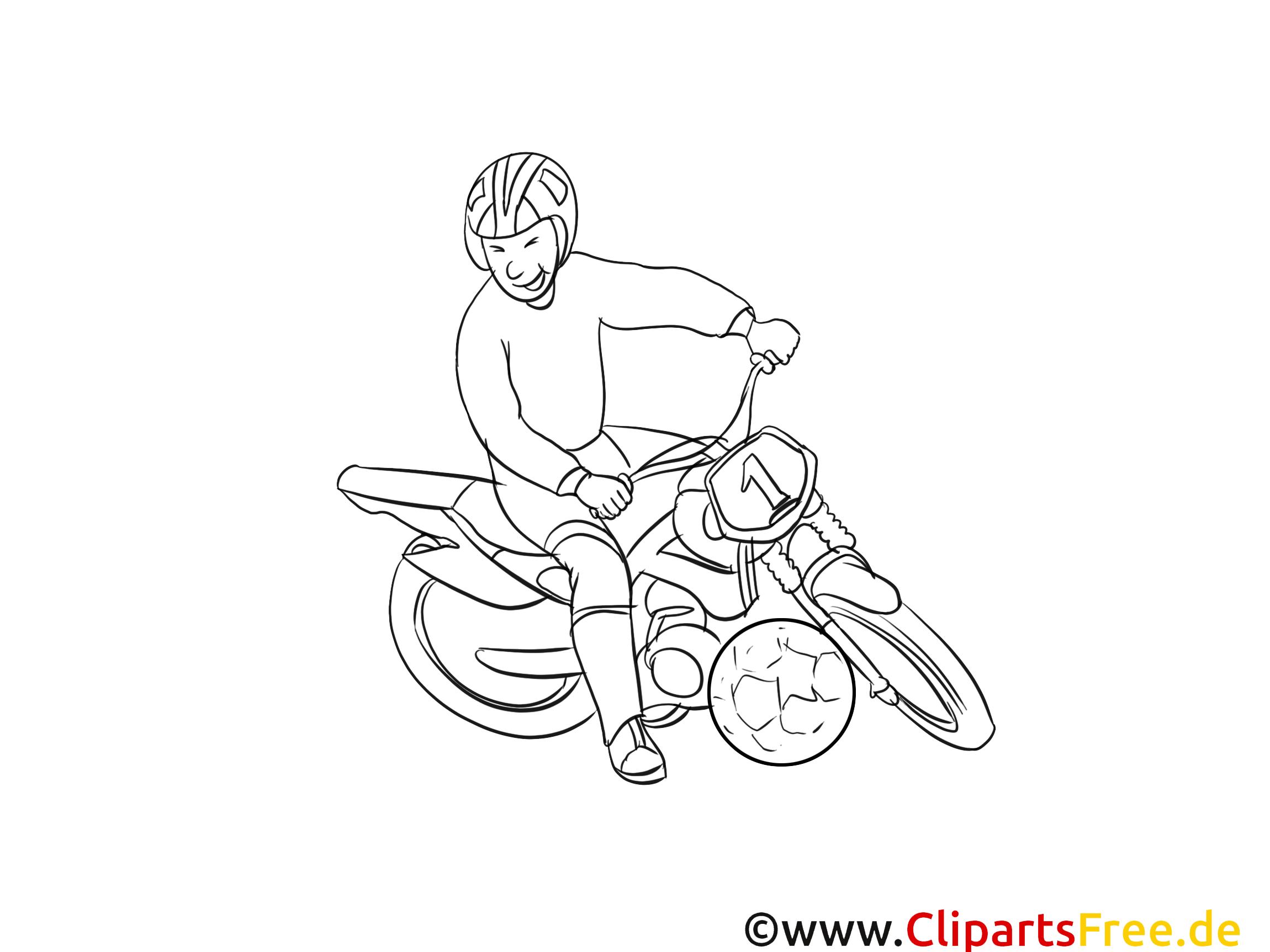 Moto-ball dessin – Coloriage sport à télécharger