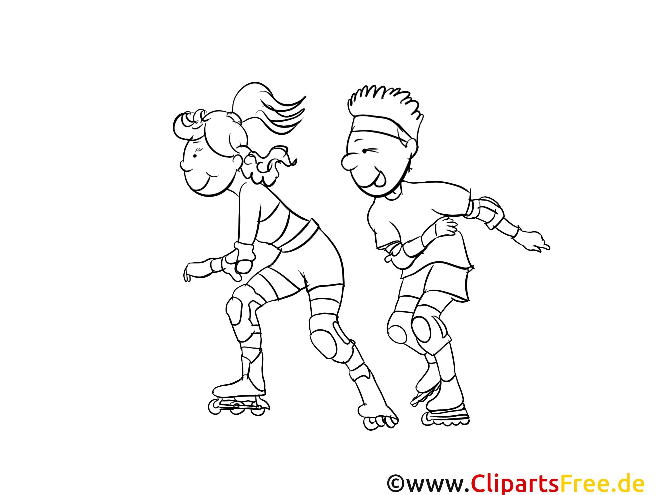 Patins à roulettes clipart – Sport dessins à colorier