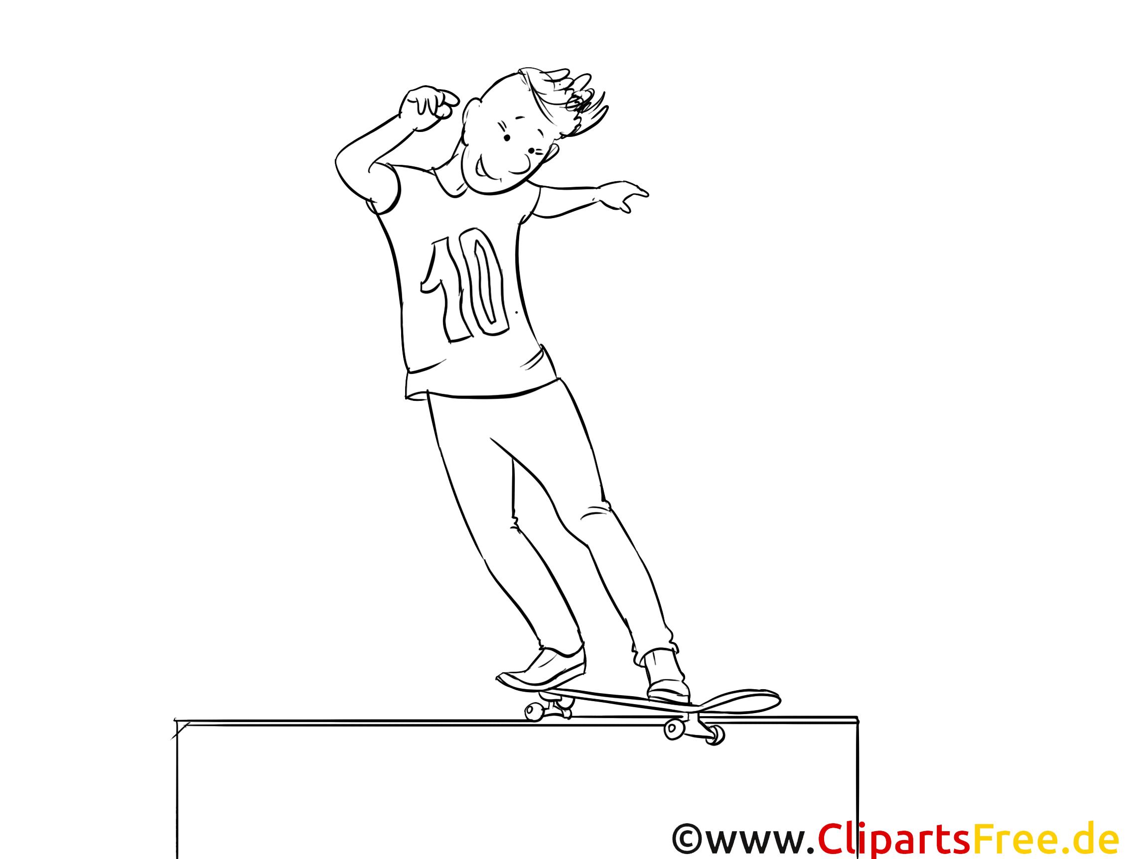 Planche à roulettes clip arts – Sport à imprimer