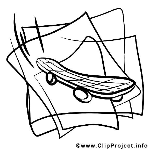 Planche à roulettes clipart – Sport dessins à colorier