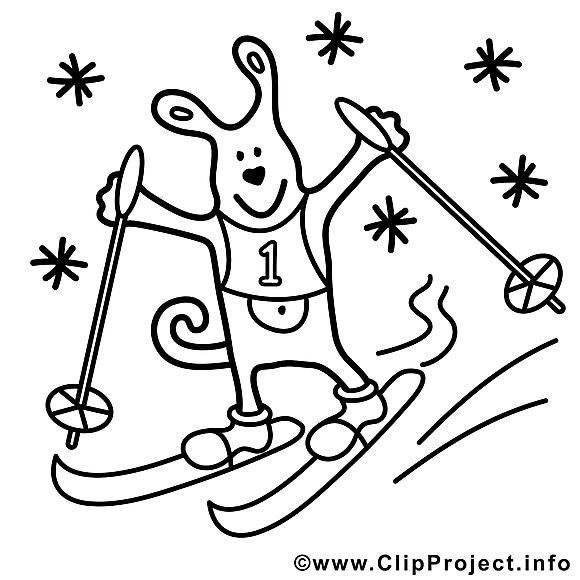 Ski dessin – Coloriage sport à télécharger