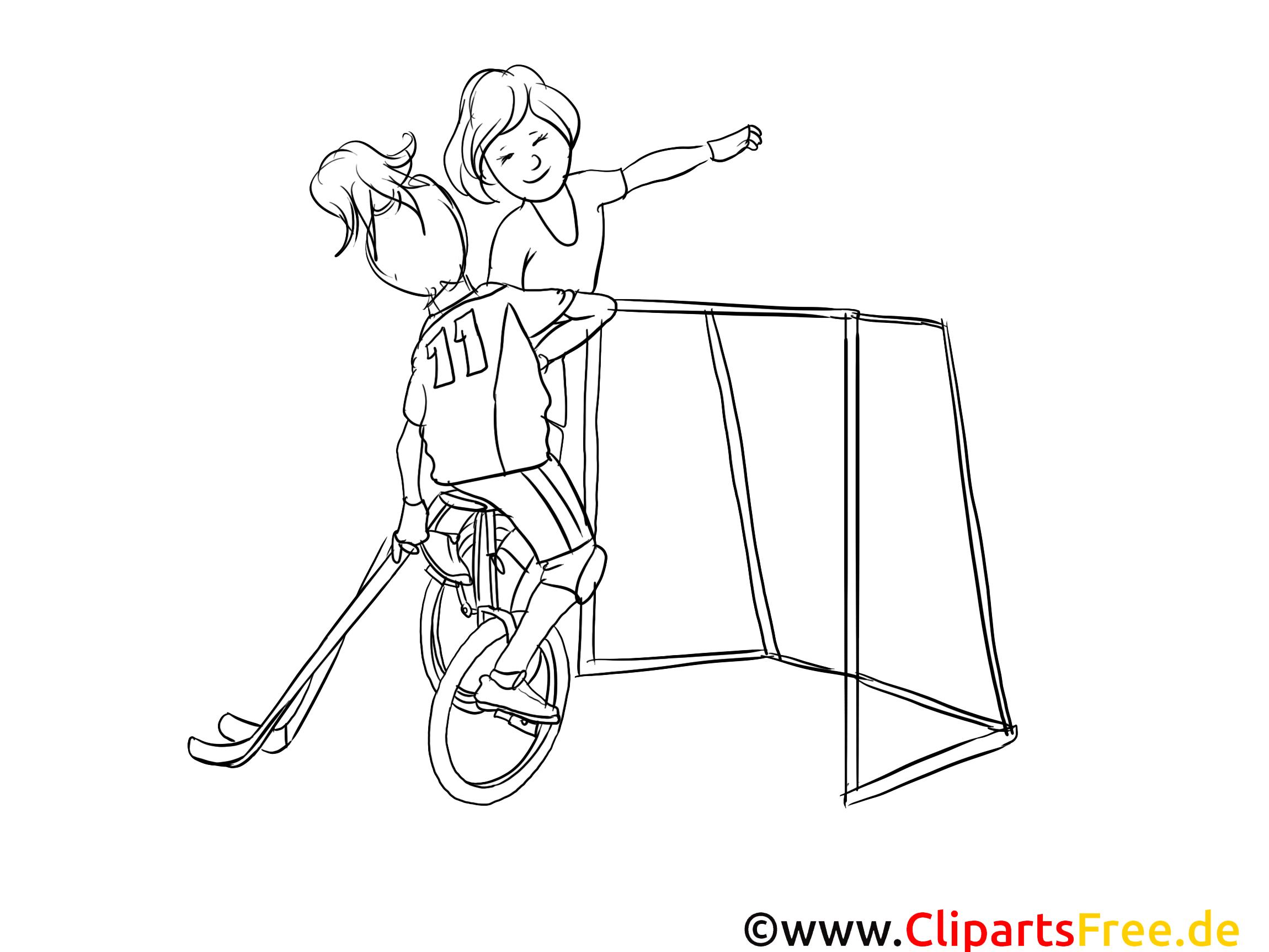 Unicycle hockey dessins gratuits – Sport à colorier