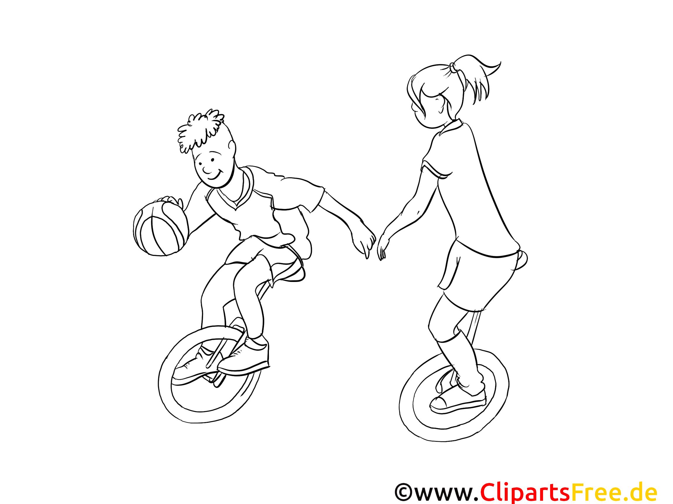Unicycles images gratuites – Sport à colorier