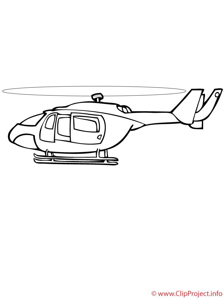 Hélicoptère image coloriage illustration