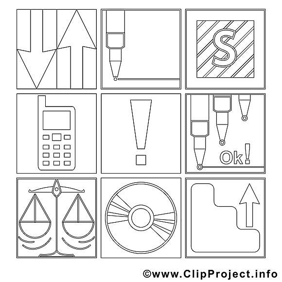 Office clipart gratuit – Travail à colorier