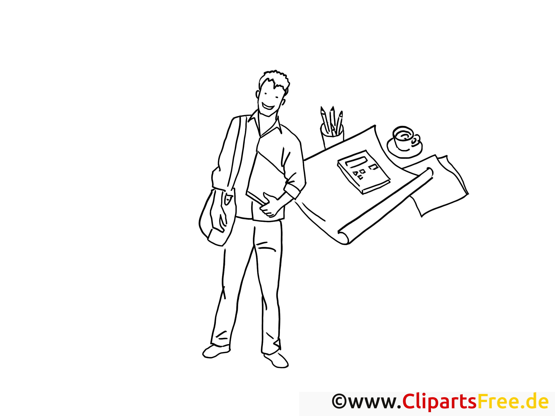 Reporter illustration – Coloriage travail cliparts