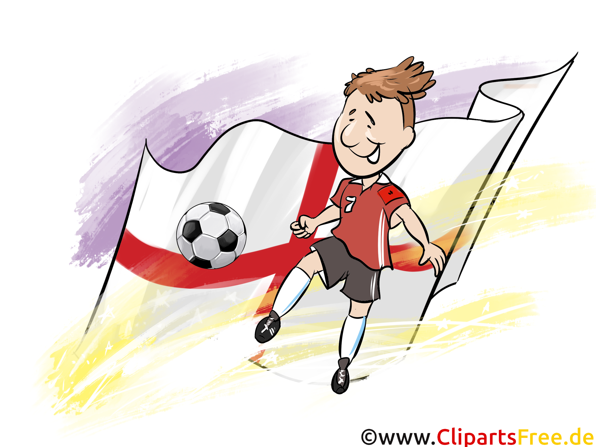 Drapeau Soccer gratuit Angleterre Cliparts avec le Ballon