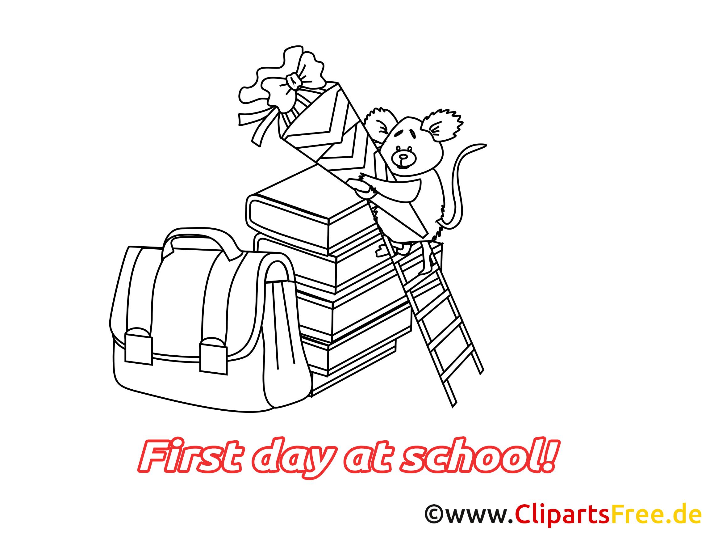 Coloriage début école illustration à télécharger gratuite