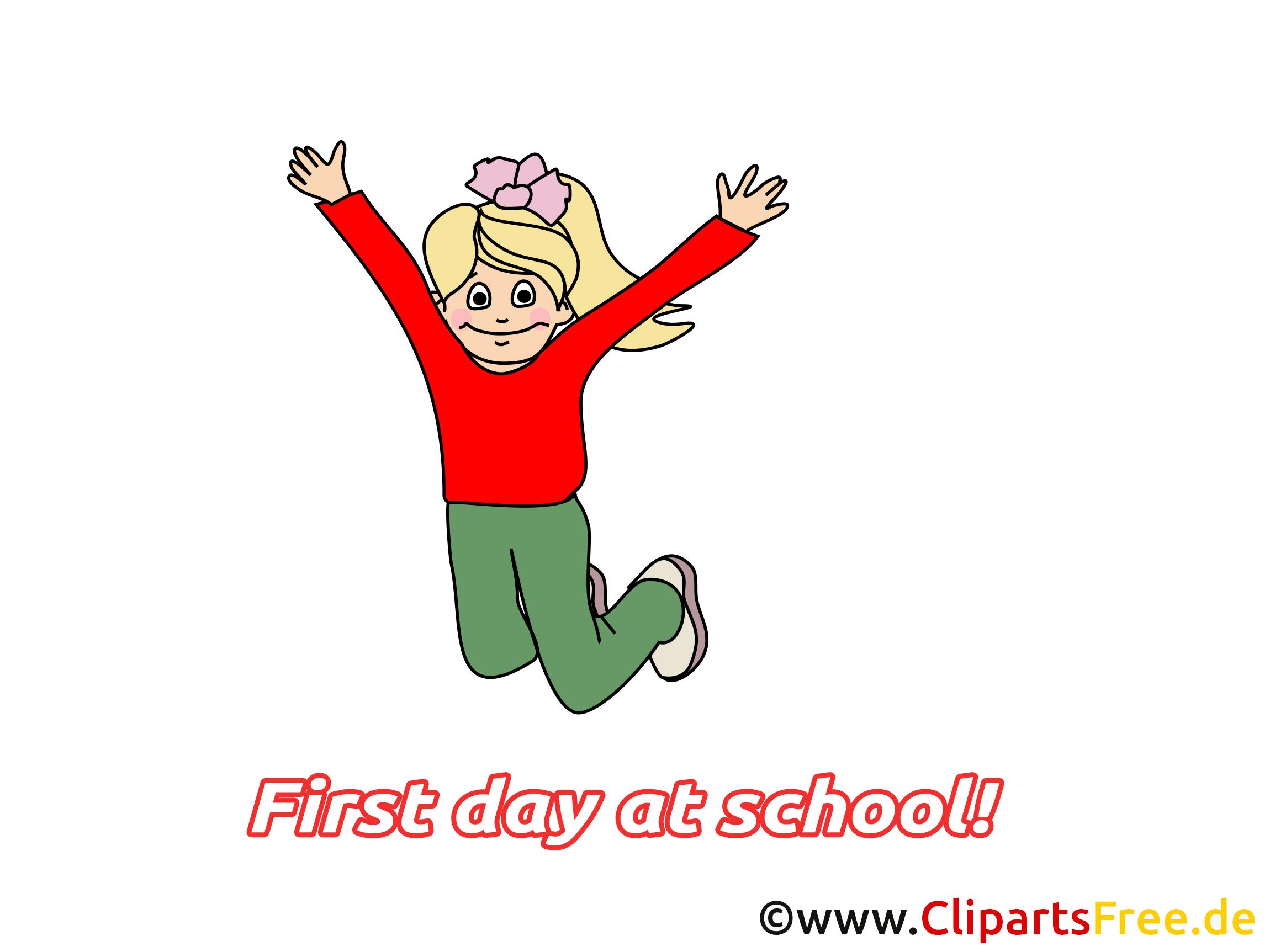 Fille dessin – Début école cliparts à télécharger