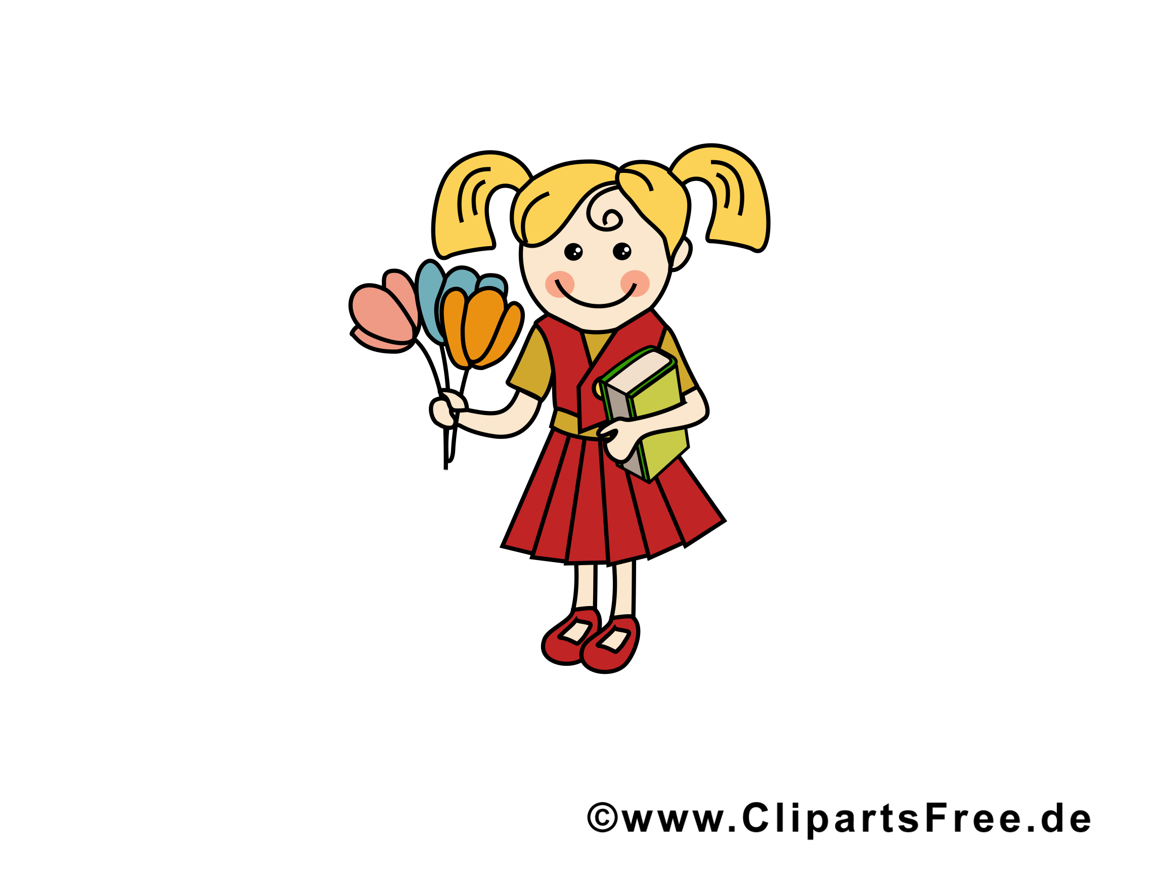 Carte clipart gratuit fille – École images