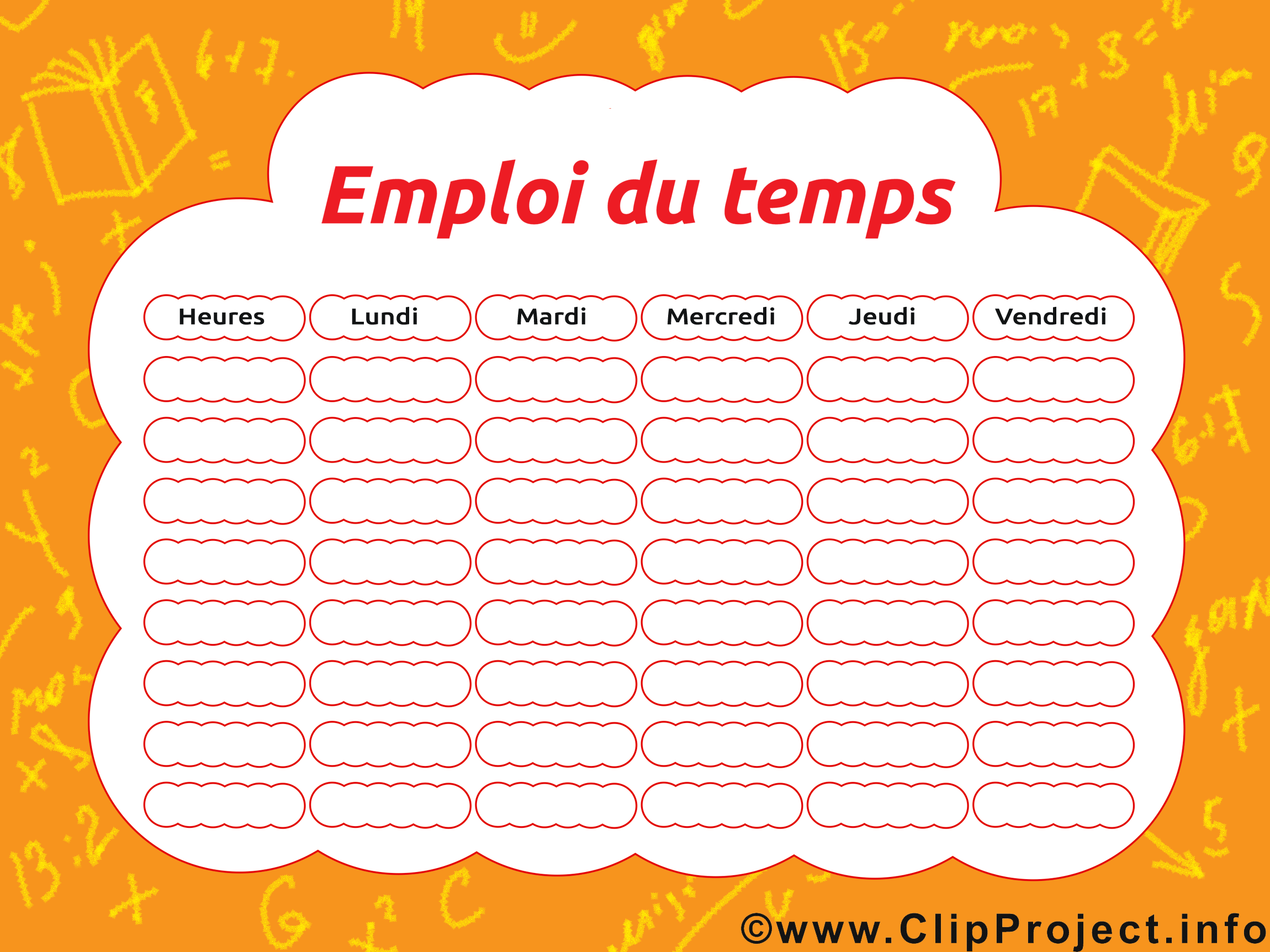 Clip art gratuit horaires de cours – École dessin