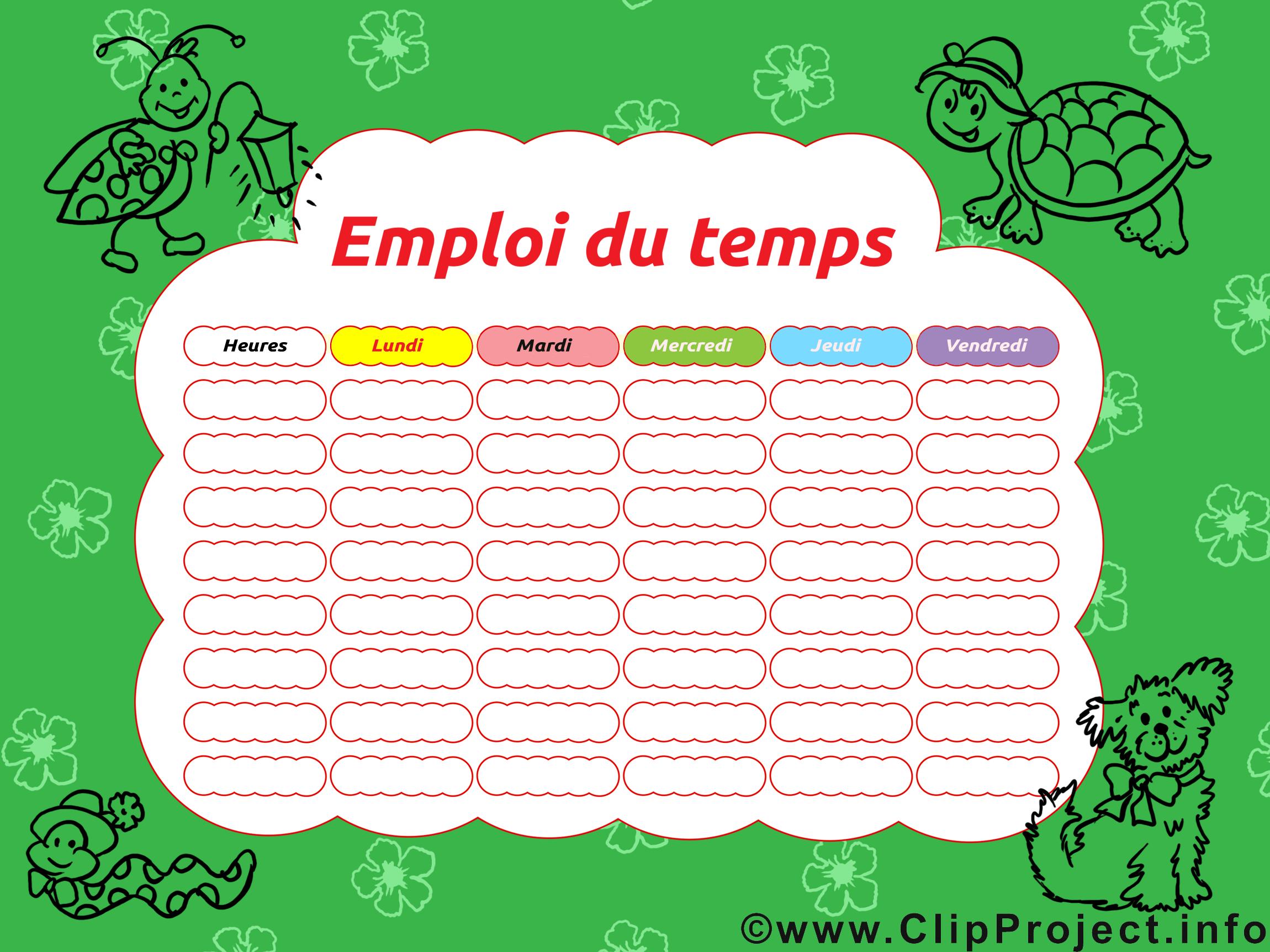 Clipart gratuit horaires de cours – École images